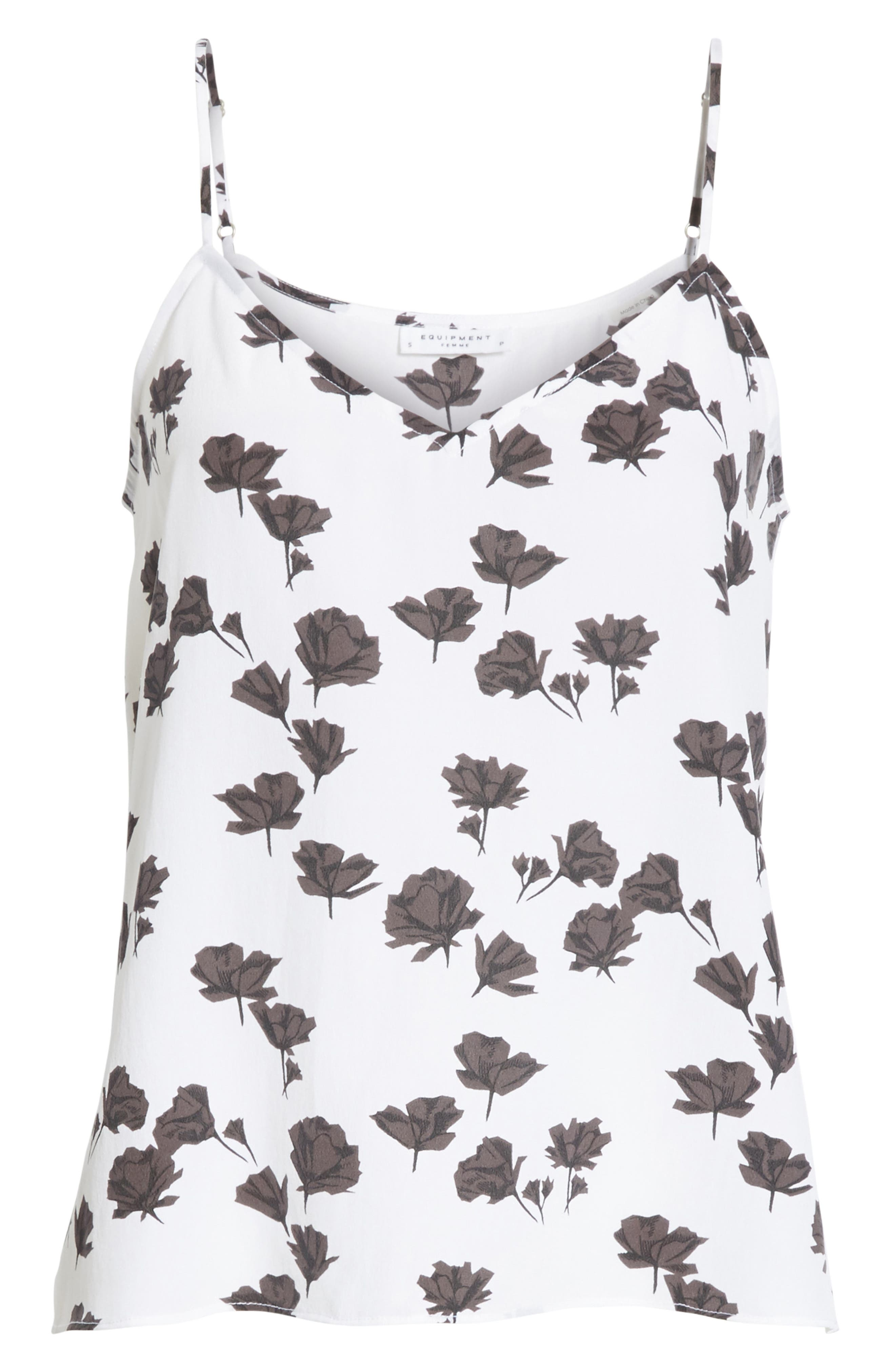 Layla Floral Print Silk Camisole,                             Alternate thumbnail 6, color,                             Bright White