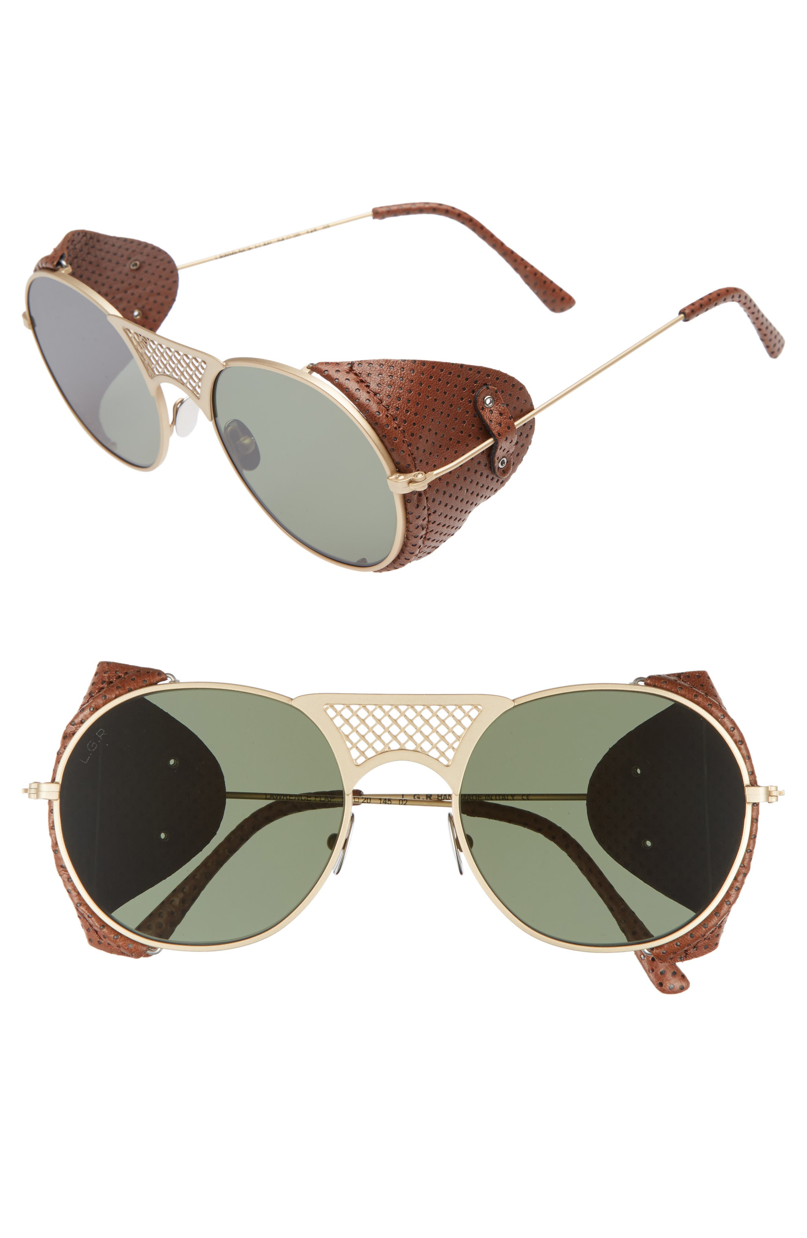 L.G.R LAWRENCE 54MM SUNGLASSES - GOLD MATTE/ BROWN/ GREEN