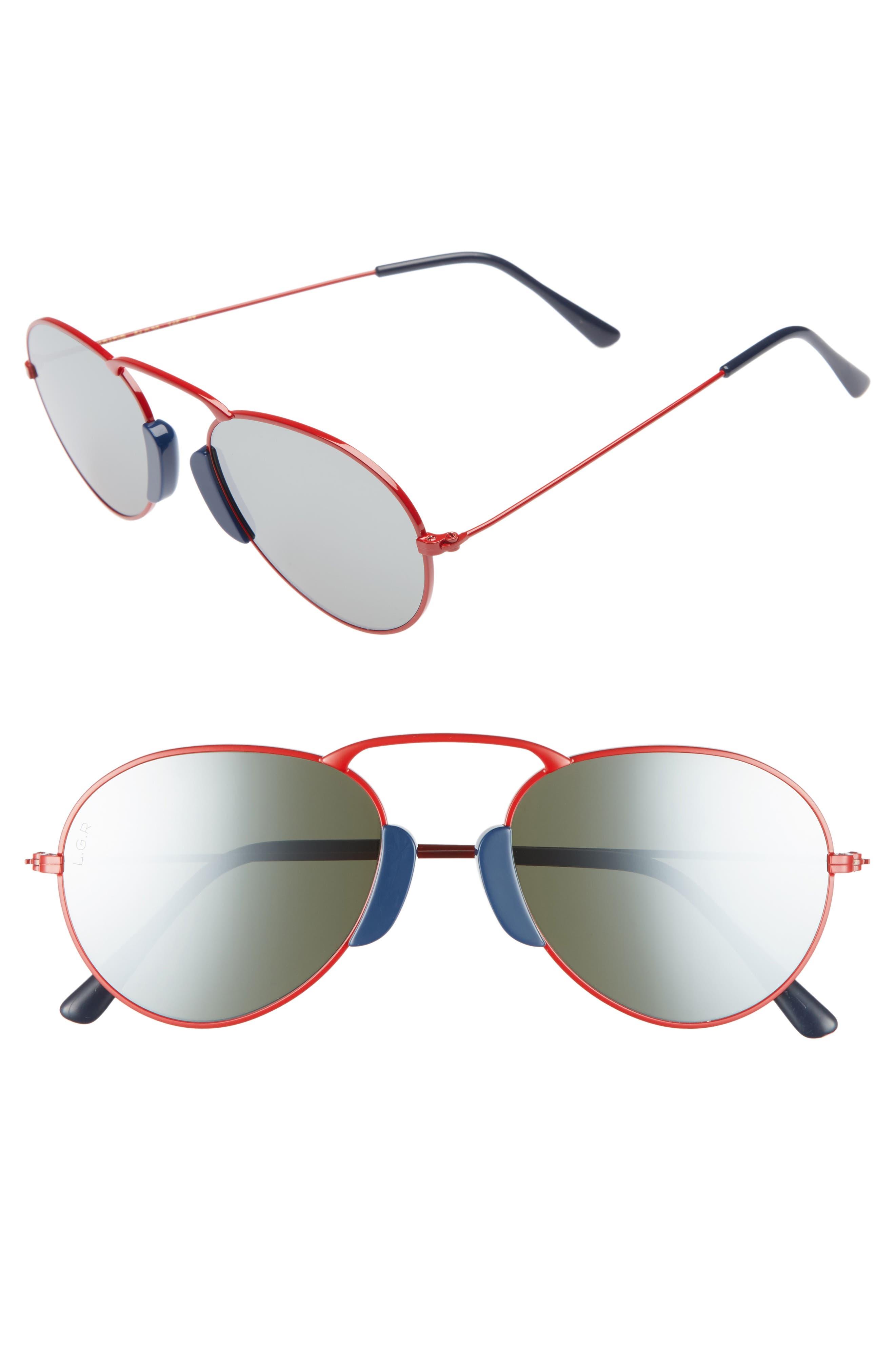 Agadir 54mm Sunglasses,                         Main,                         color, Red/ Silver Mirror