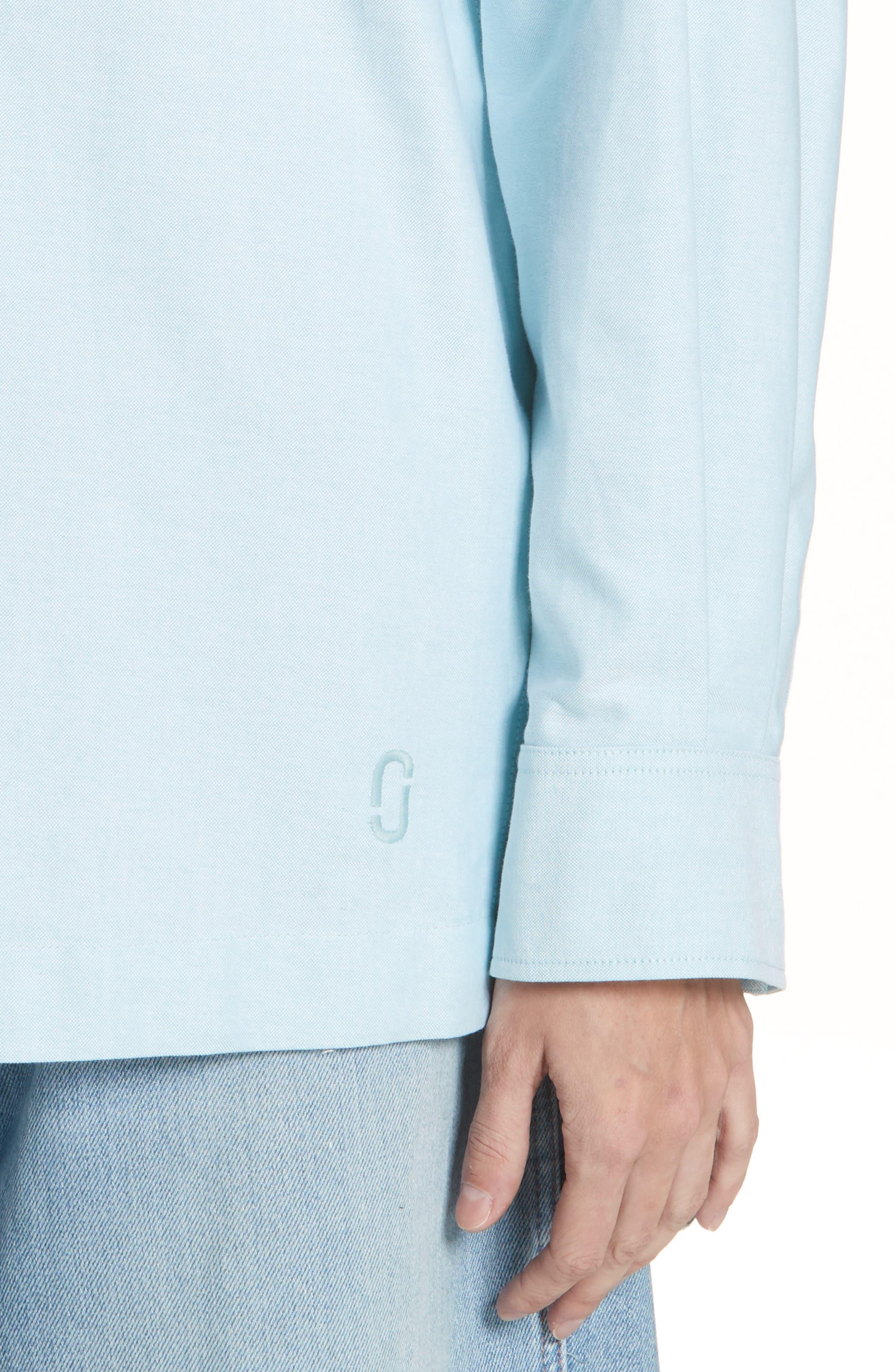 Oversize Half Placket Shirt,                             Alternate thumbnail 4, color,                             Light Turquoise