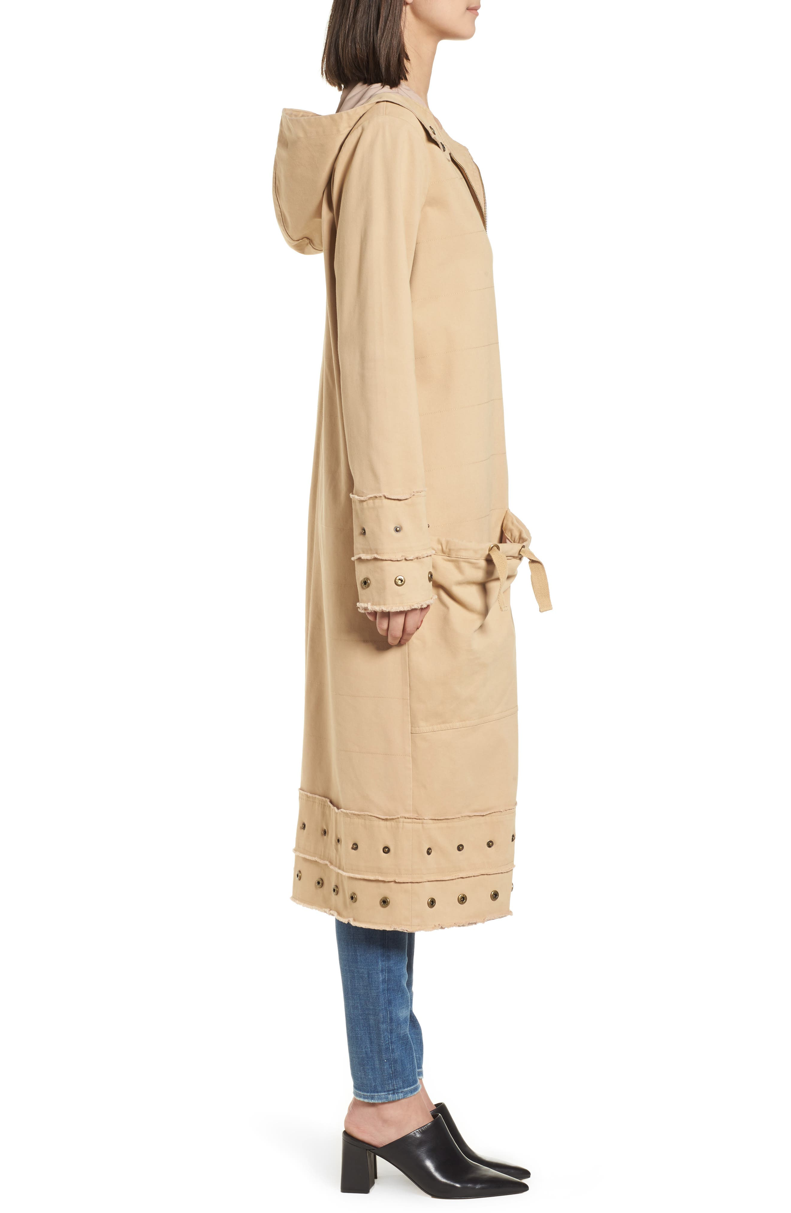 Snap Detail Trench Coat,                             Alternate thumbnail 3, color,                             Honey Taupe