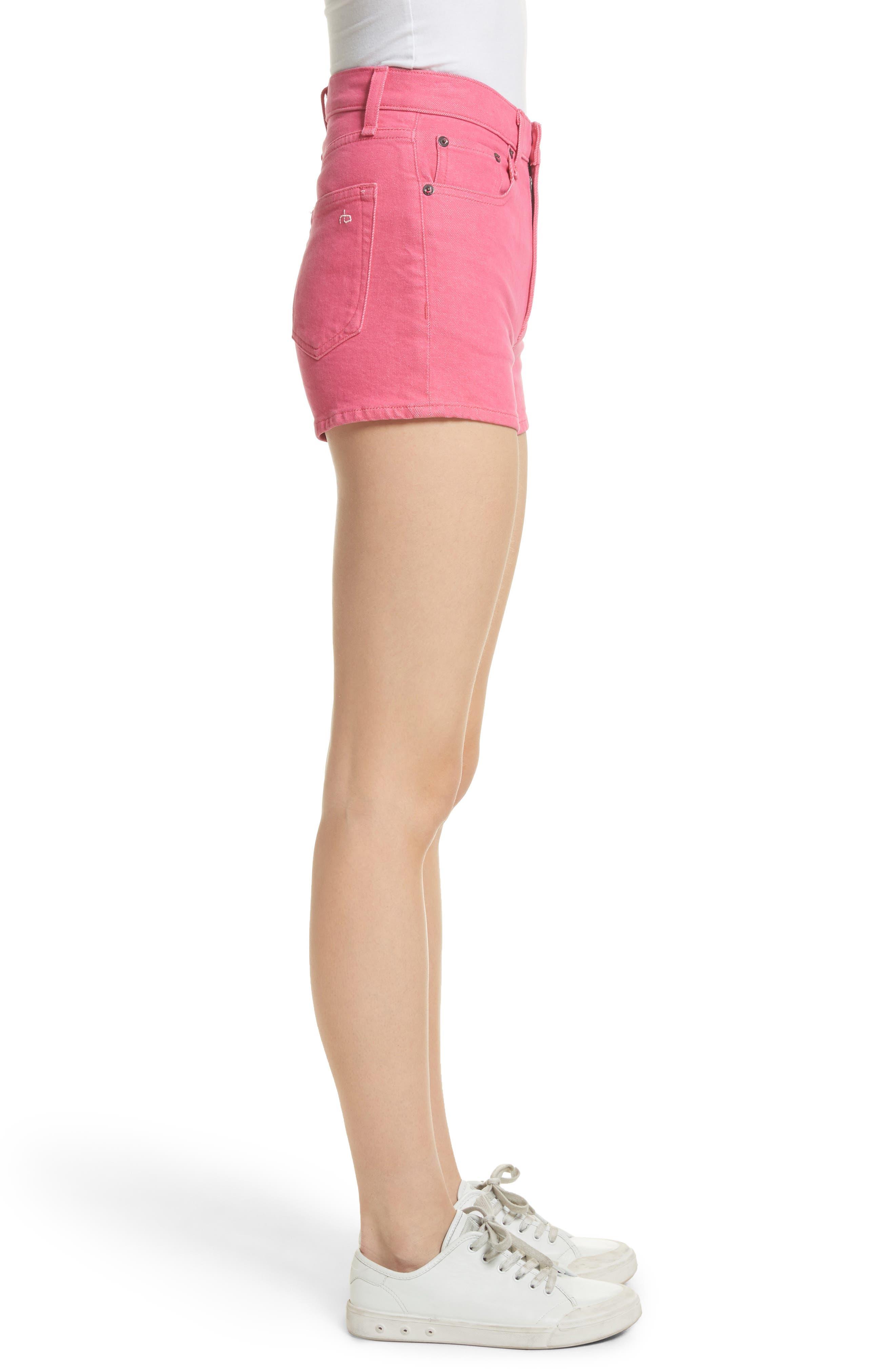 Justine High Waist Denim Shorts,                             Alternate thumbnail 3, color,                             Bull Pink