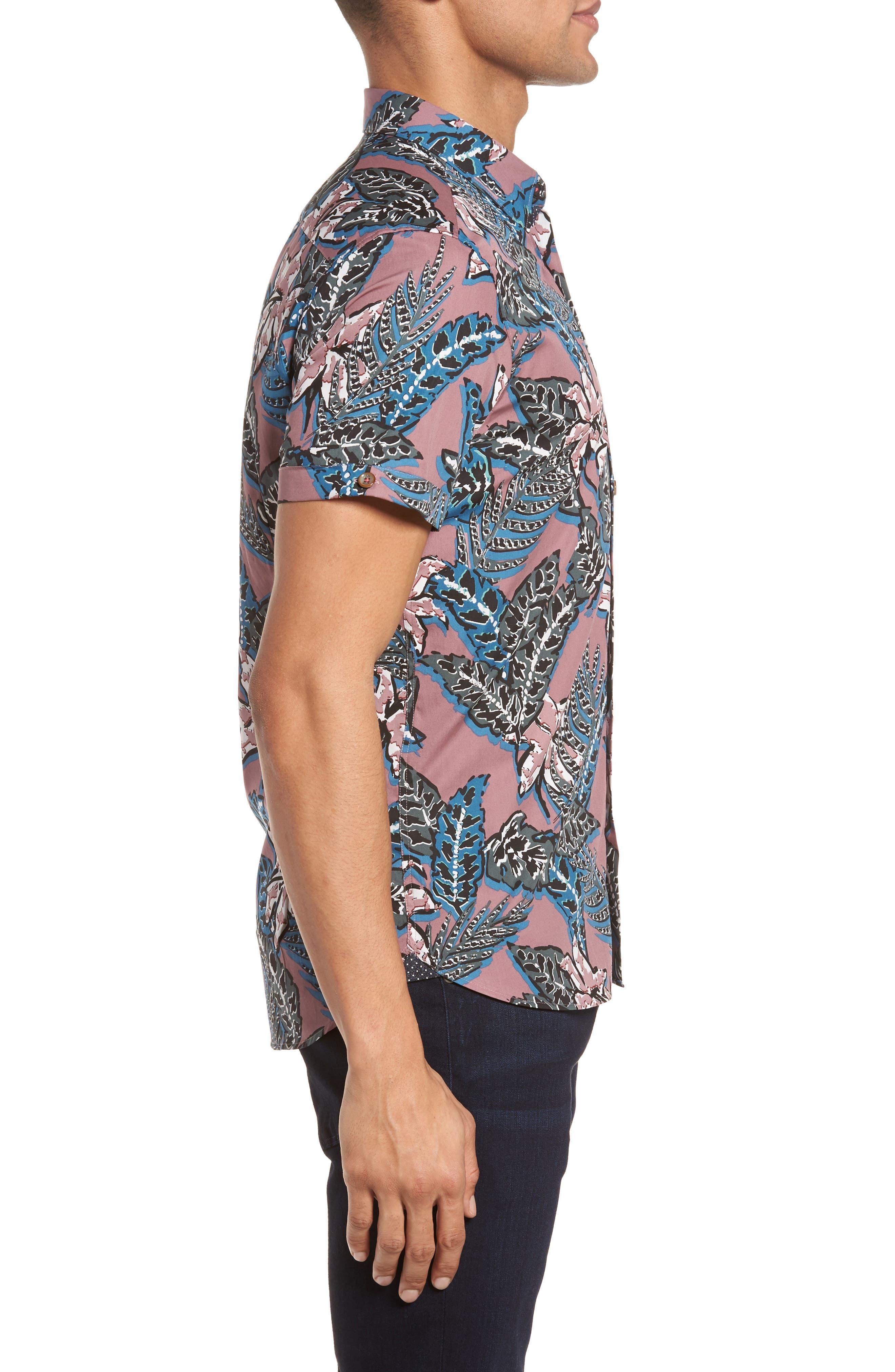 Clbtrop Trim Fit Tropical Woven Shirt,                             Alternate thumbnail 4, color,                             Pink