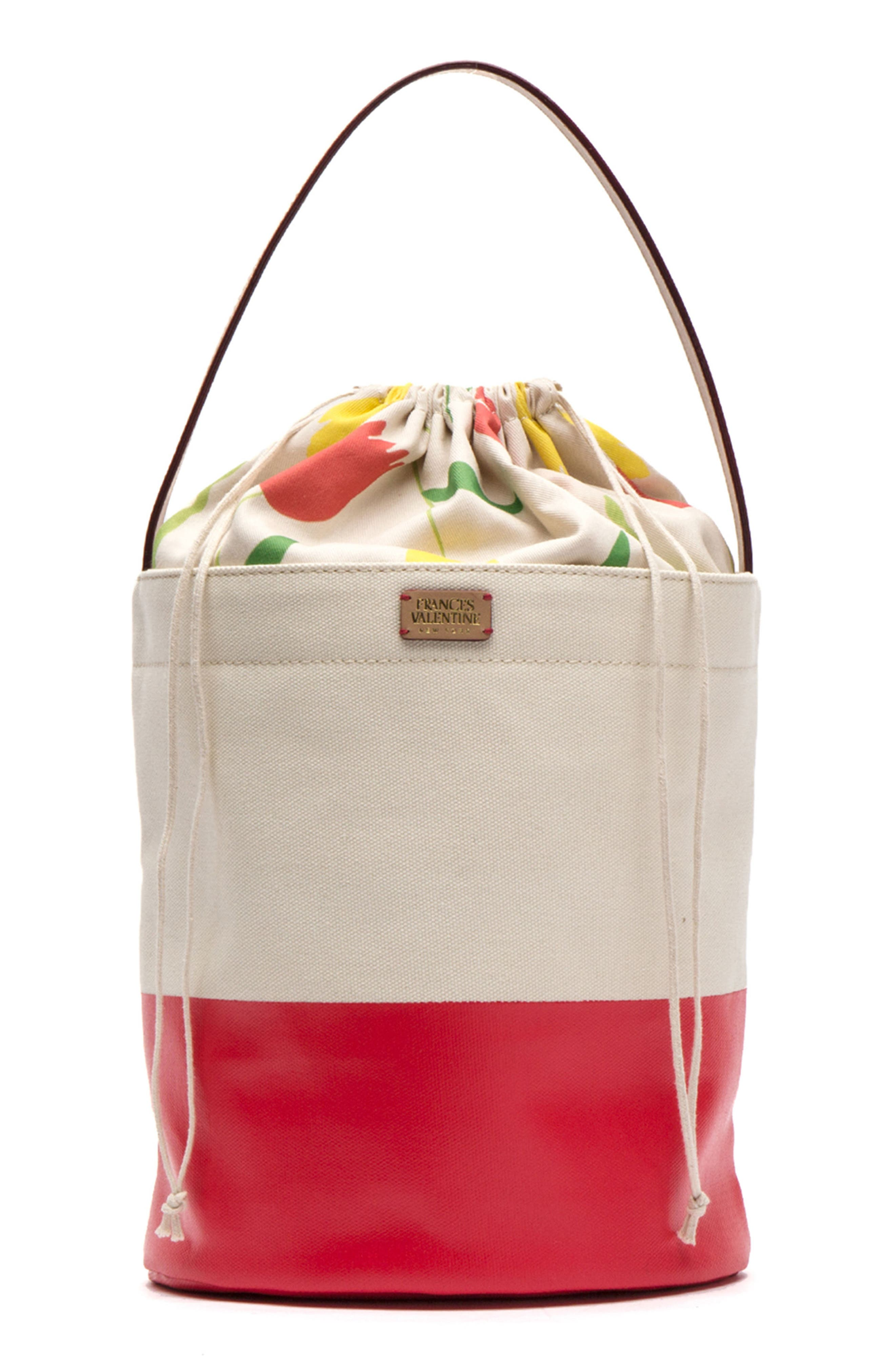 Large Canvas Bucket Bag,                             Alternate thumbnail 2, color,                             Natural/ Red