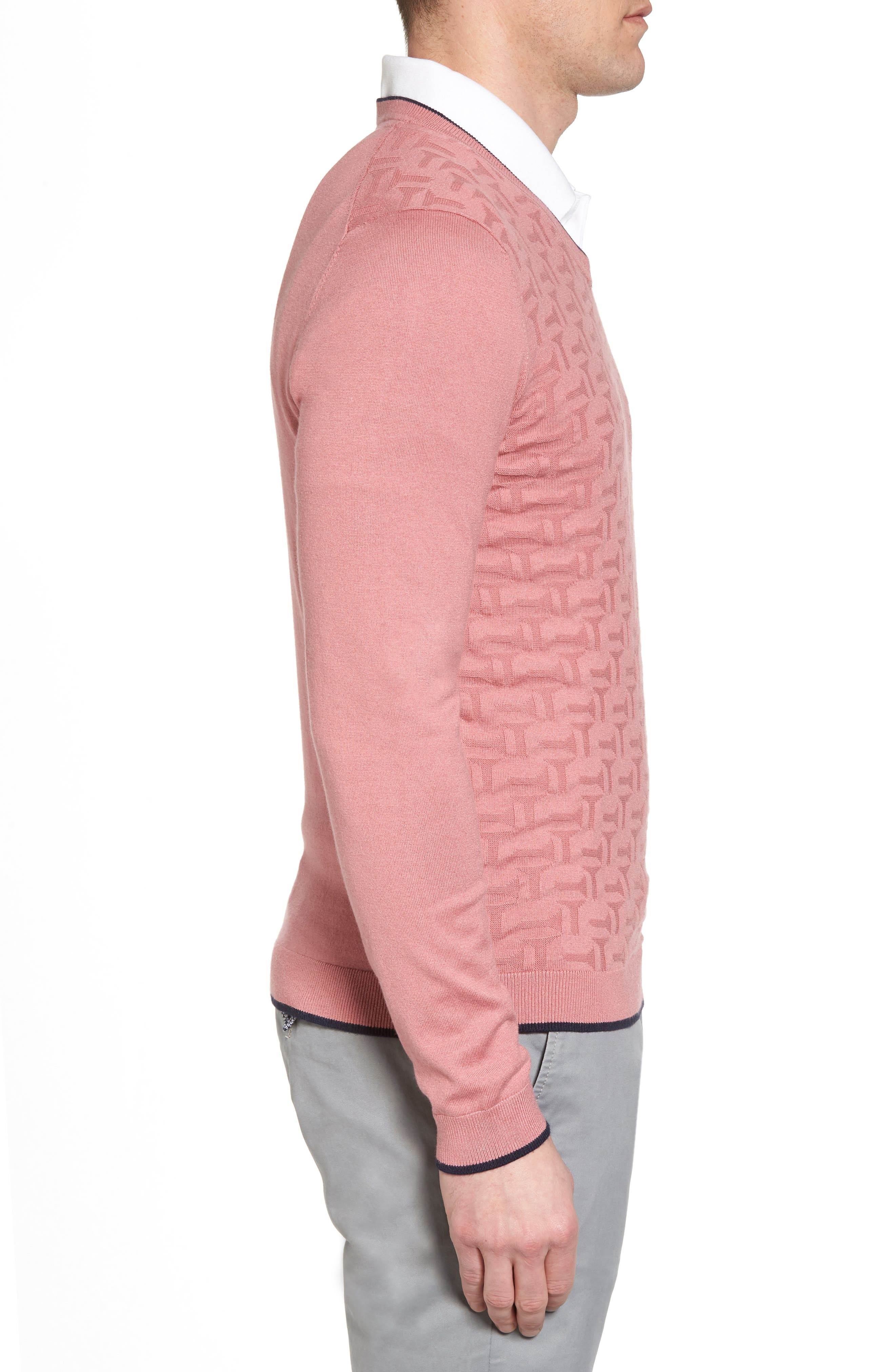 Armstro Tipped Golf Tee Sweater,                             Alternate thumbnail 3, color,                             Mid Pink