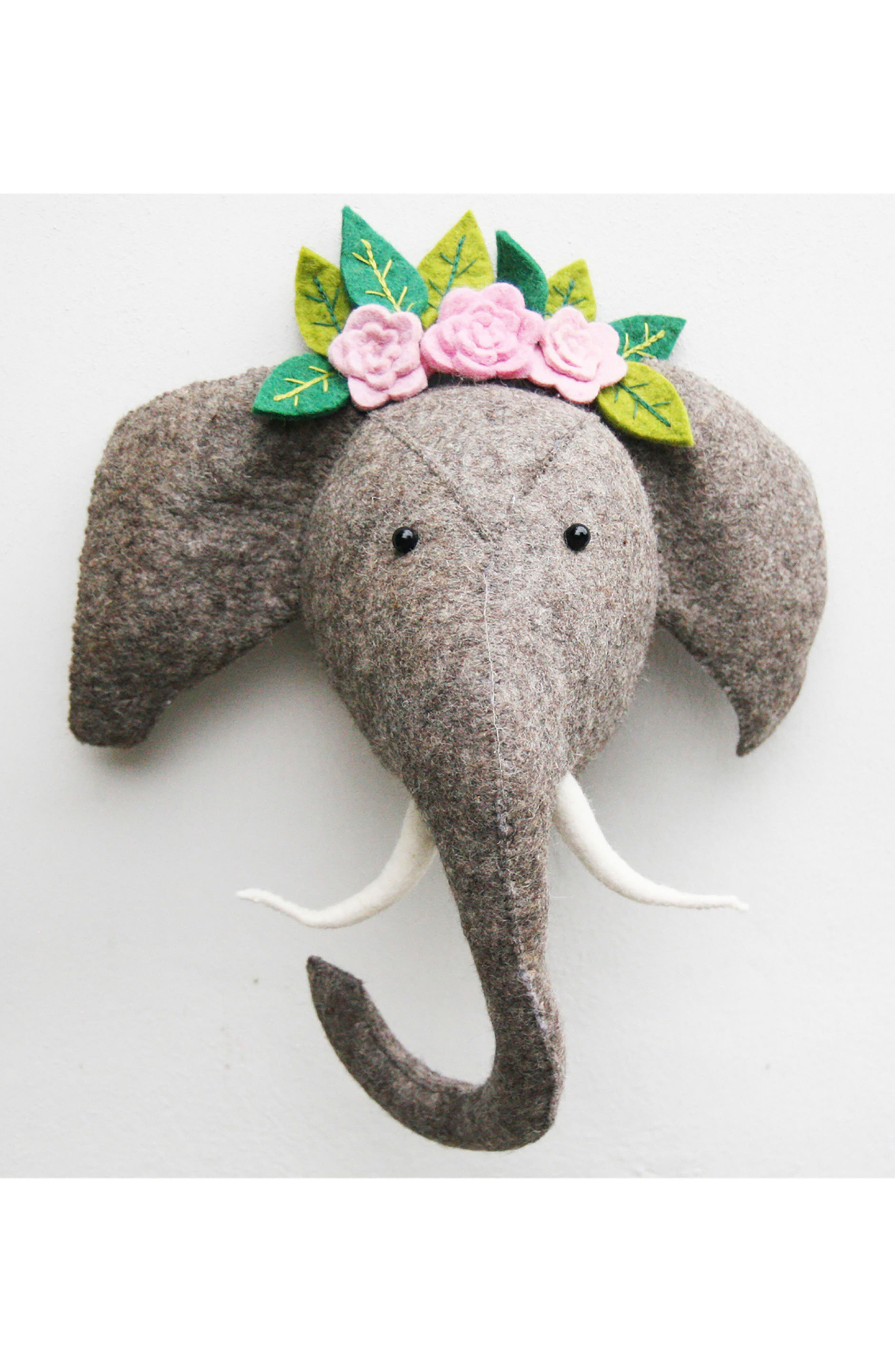 Elephant Head with Tusks Wall Art,                             Alternate thumbnail 6, color,                             Grey