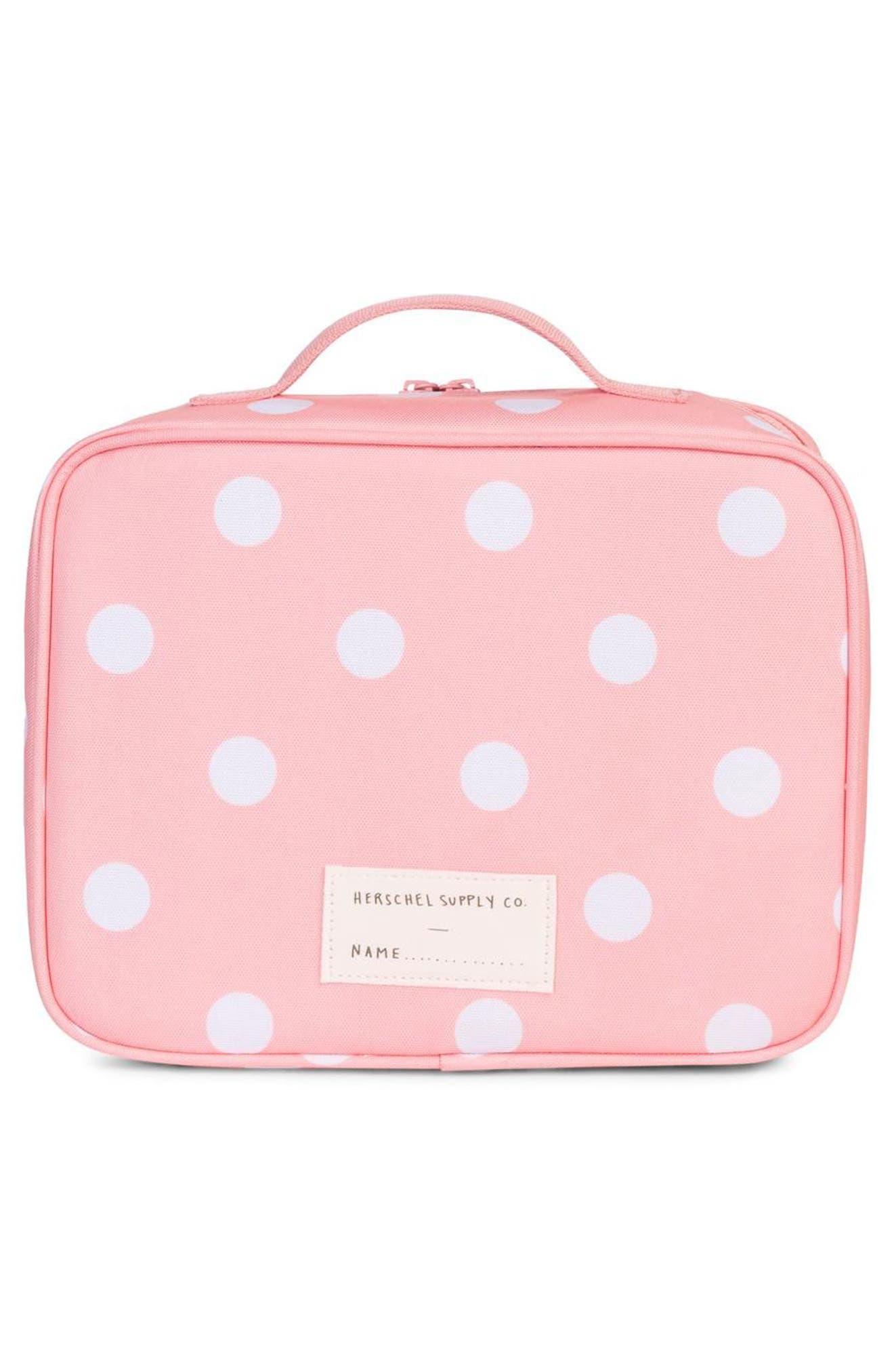 Pop Quiz Lunchbox,                             Alternate thumbnail 2, color,                             Peach Polka Dot/ Peacoat