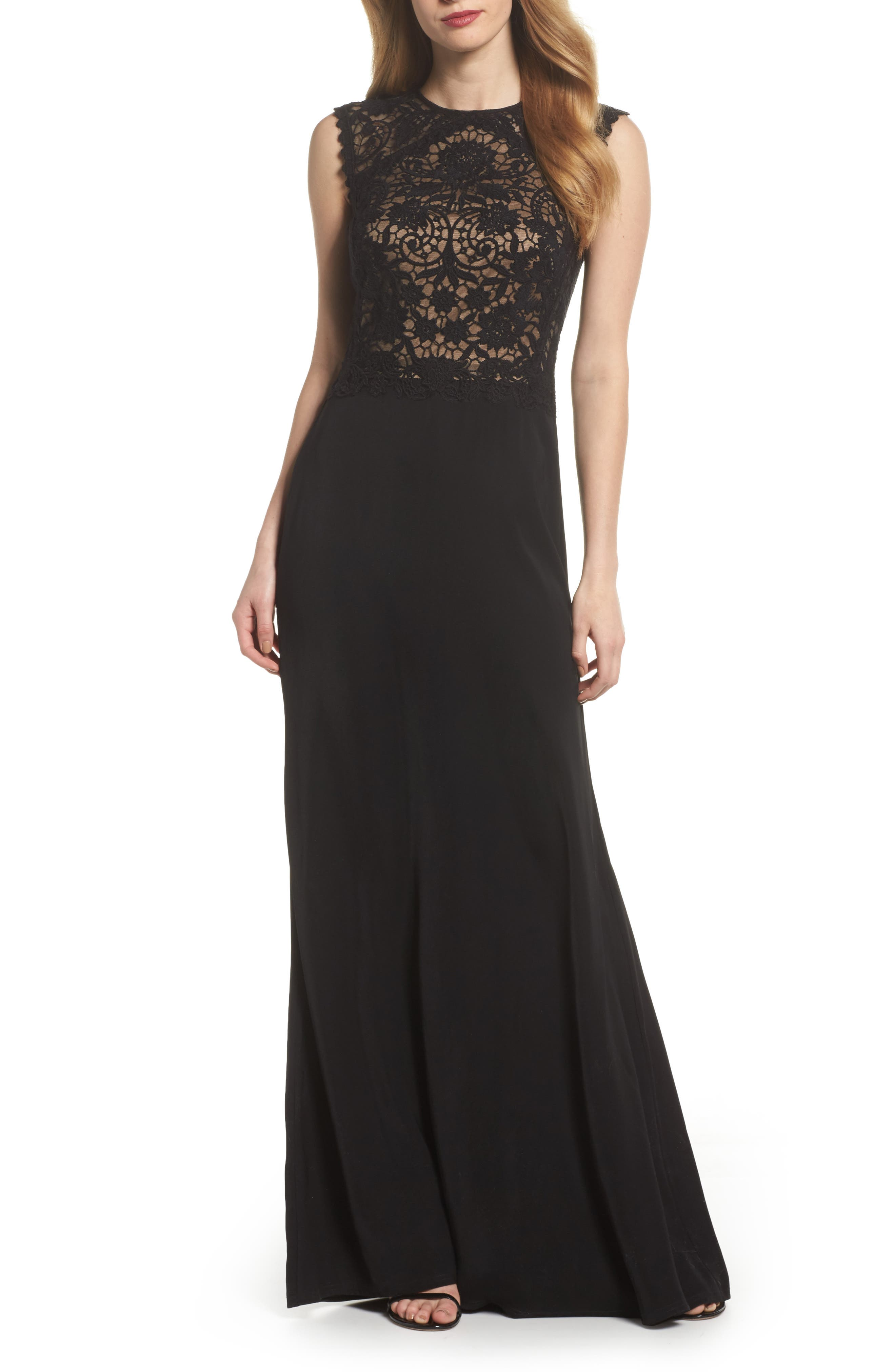 Lace Bodice Gown,                         Main,                         color, Black/ Nude