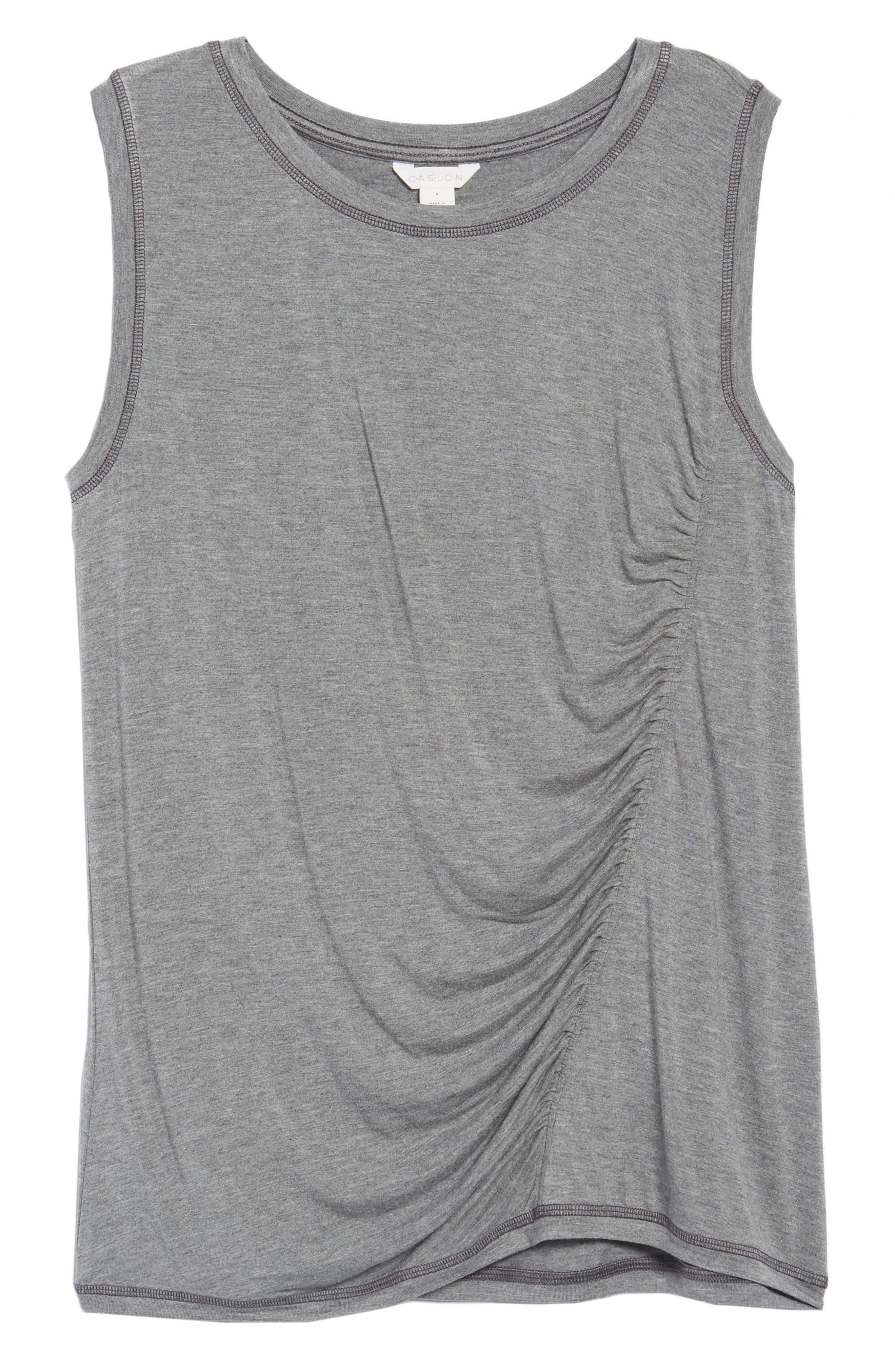Off-Duty Shirred Sleeveless Tee,                             Alternate thumbnail 6, color,                             Grey Heather