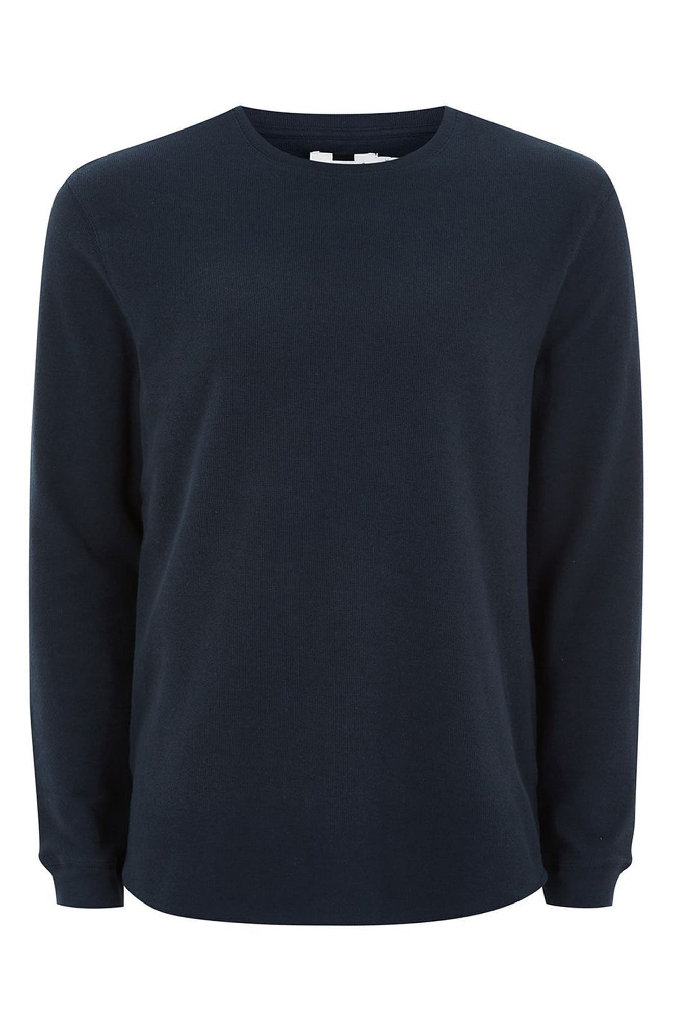Waffle Knit Long Sleeve T-Shirt,                             Alternate thumbnail 4, color,                             Dark Blue