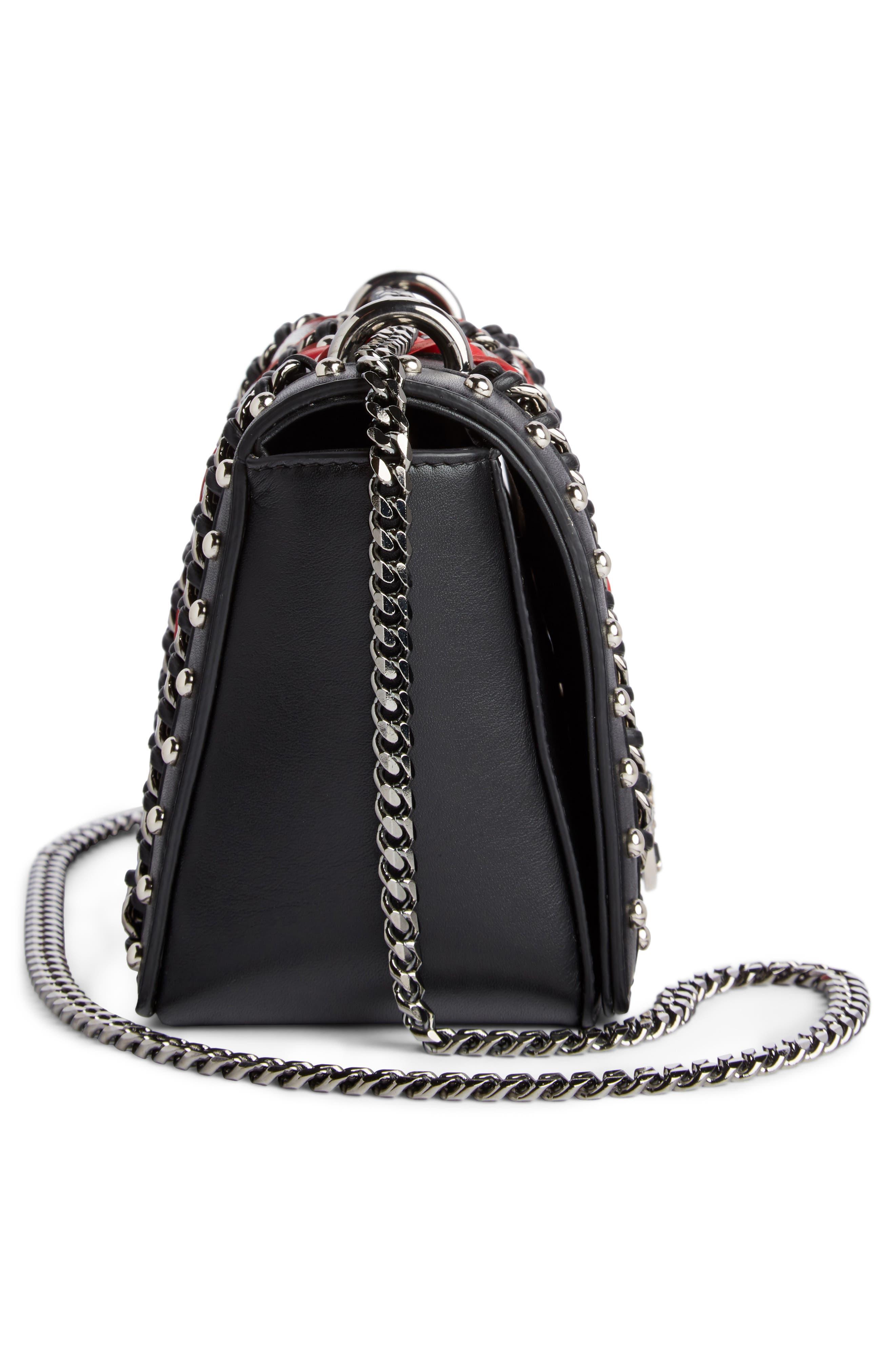 Baby Box Woven Leather Shoulder Bag,                             Alternate thumbnail 4, color,                             Noir/ Rouge/ Blanc