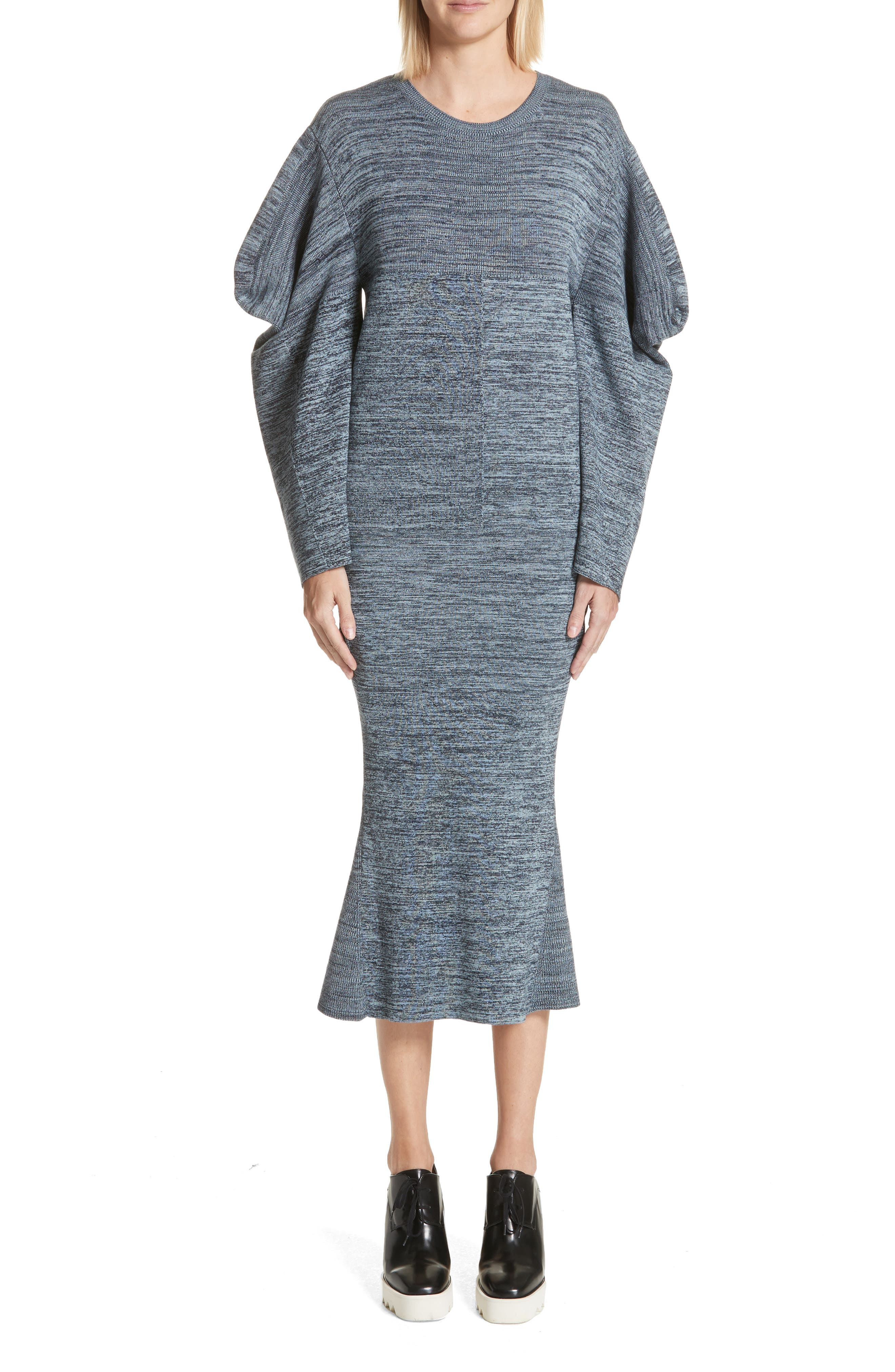 Stella McCartney Puff Sleeve Cotton Mouliné Dress