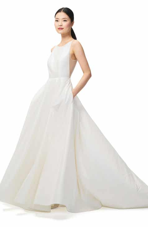 Jenny By Yoo Ashton Plunge Back A Line Gown
