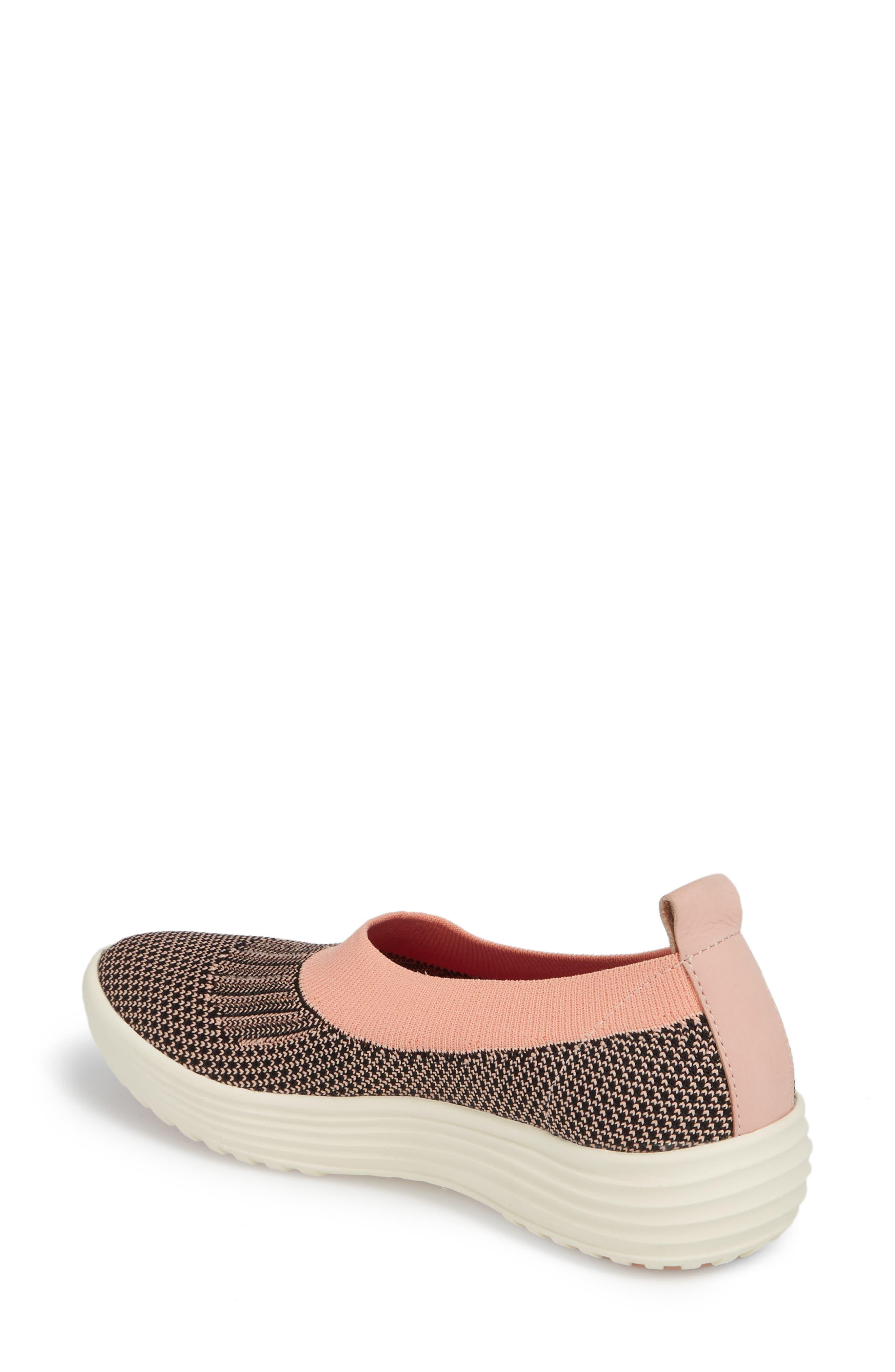 Merigold Slip-On Sock Fit Sneaker,                             Alternate thumbnail 2, color,                             Pink/ Black Knit Fabric