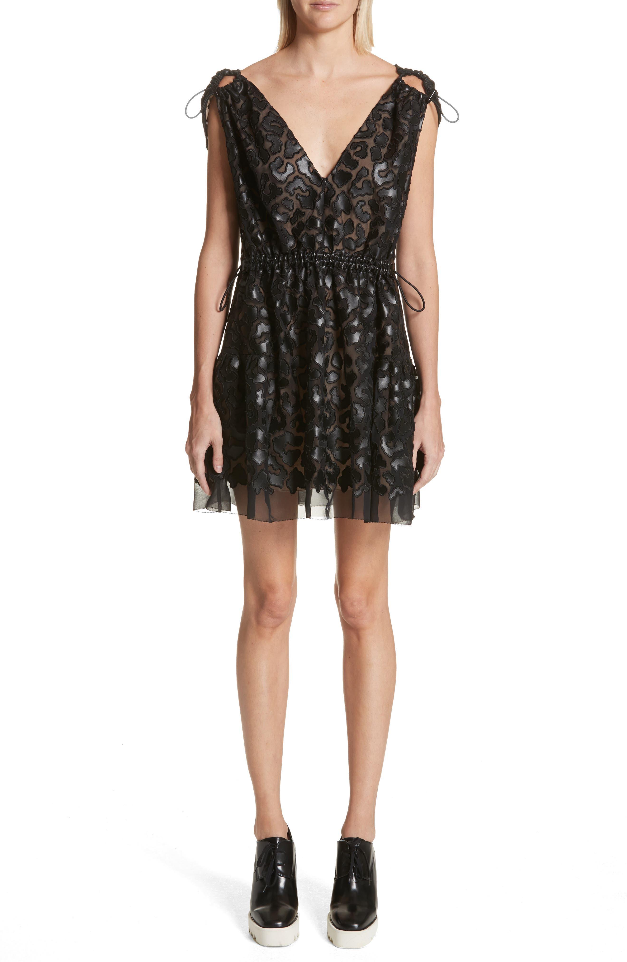 Faux Leather Leopard Print Dress,                             Main thumbnail 1, color,                             Black