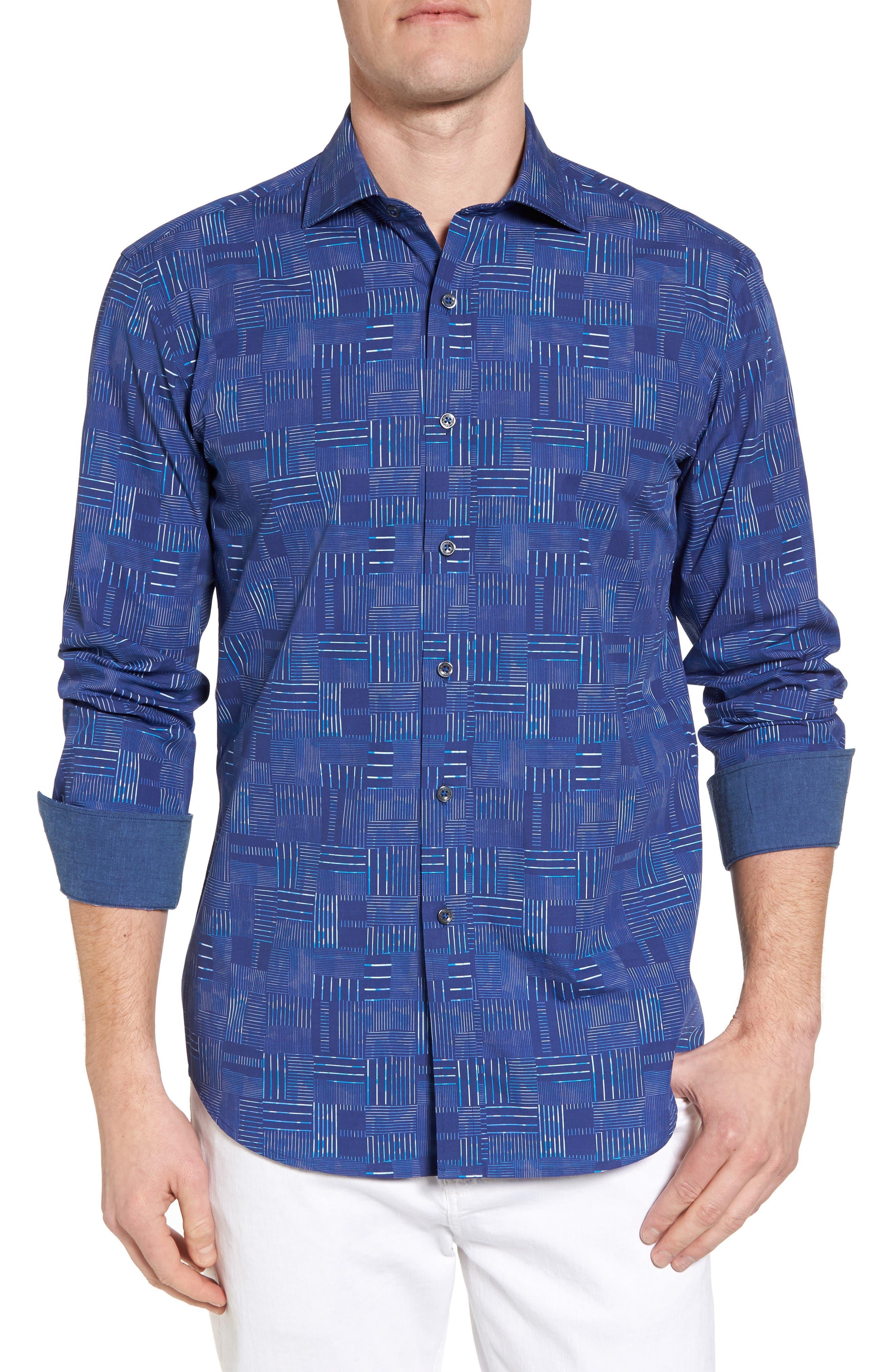 Shaped Fit Patchwork Plaid Sport Shirt,                         Main,                         color, Classic Blue
