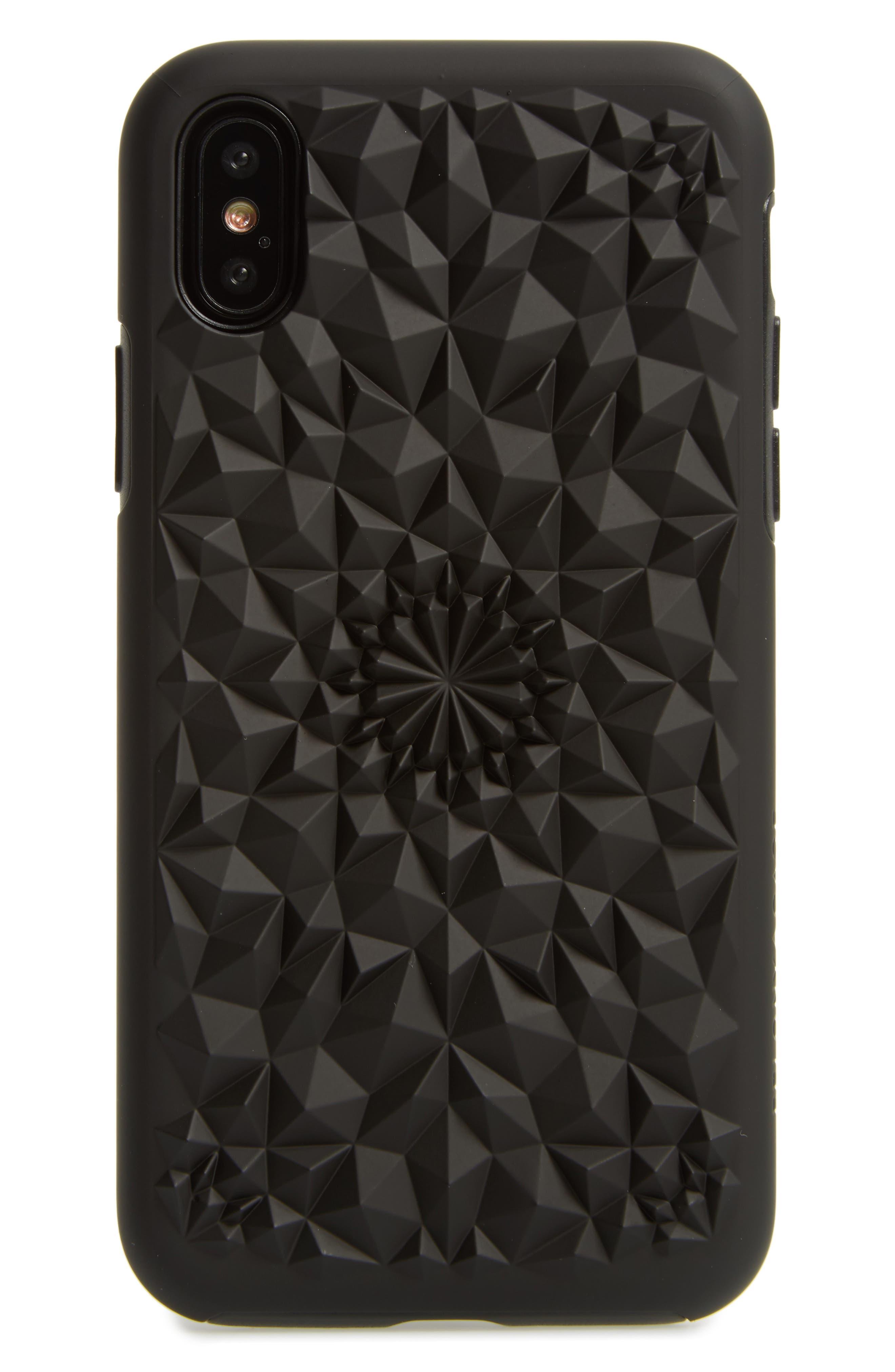 Matte Kaleidoscope iPhone X Case,                             Main thumbnail 1, color,                             Black