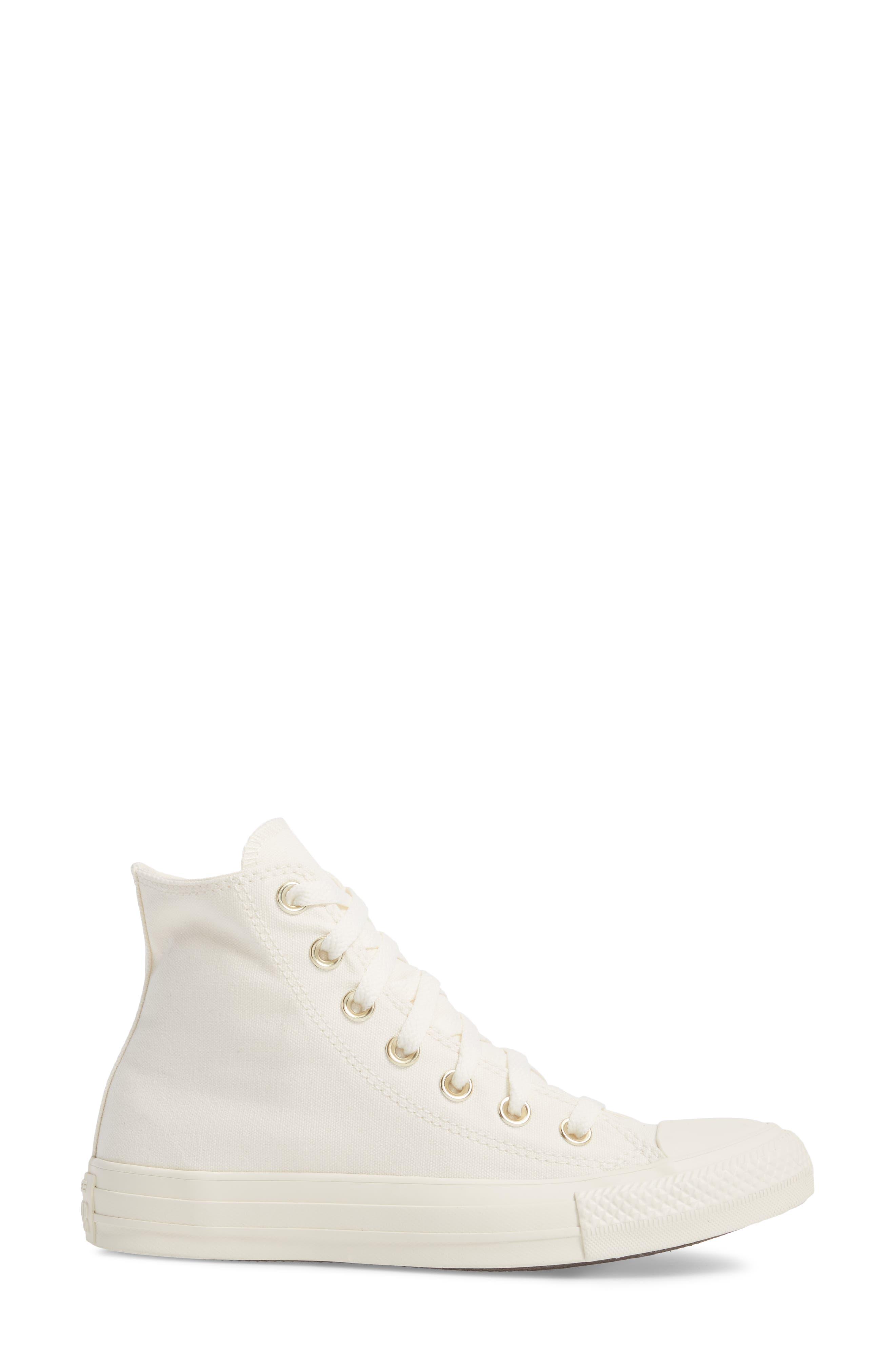 Chuck Taylor<sup>®</sup> All Star<sup>®</sup> Hi Sneaker,                             Alternate thumbnail 3, color,                             Egret