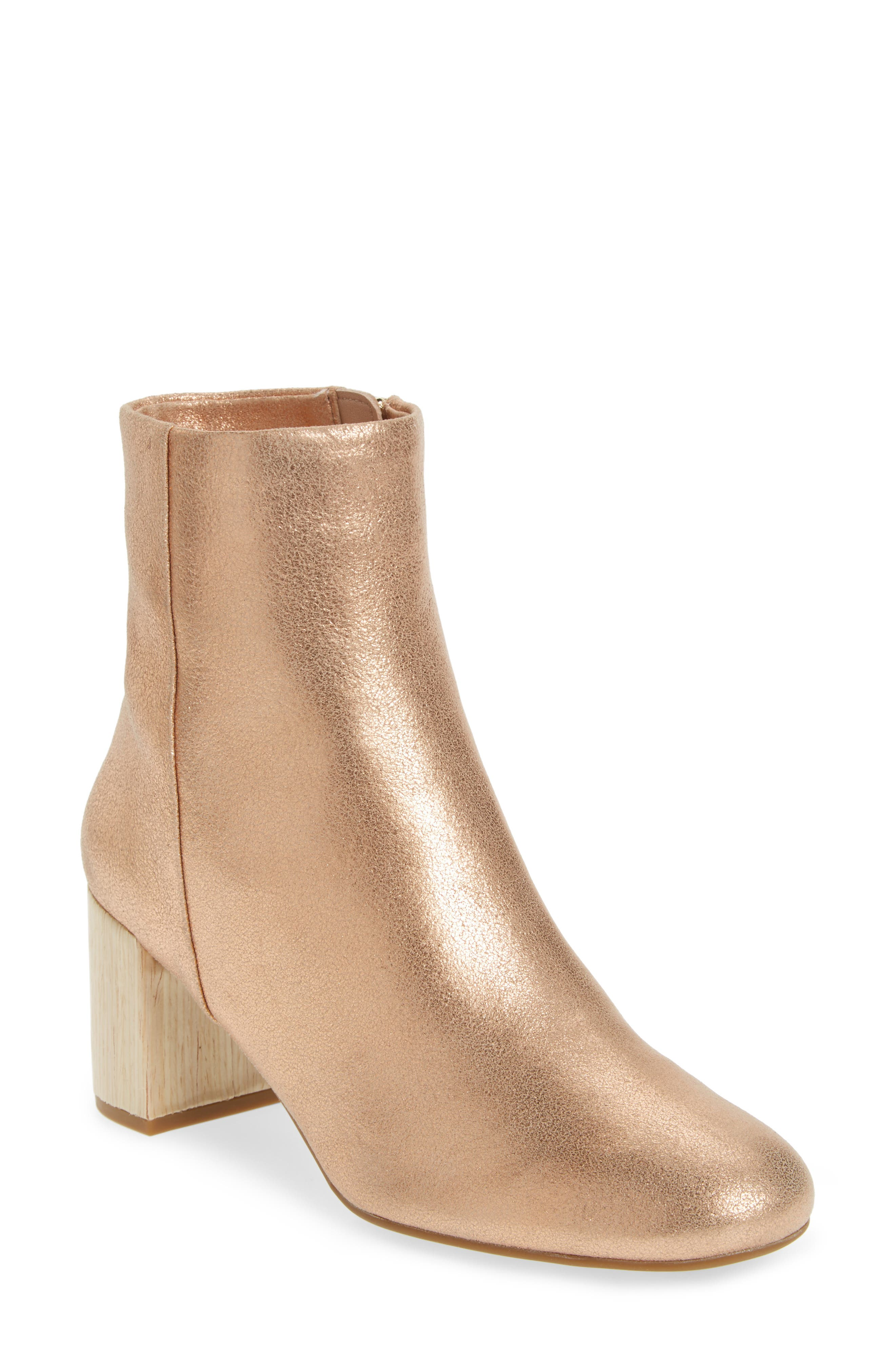 Cassidy Block Heel Bootie,                             Main thumbnail 1, color,                             Rose Gold Leather