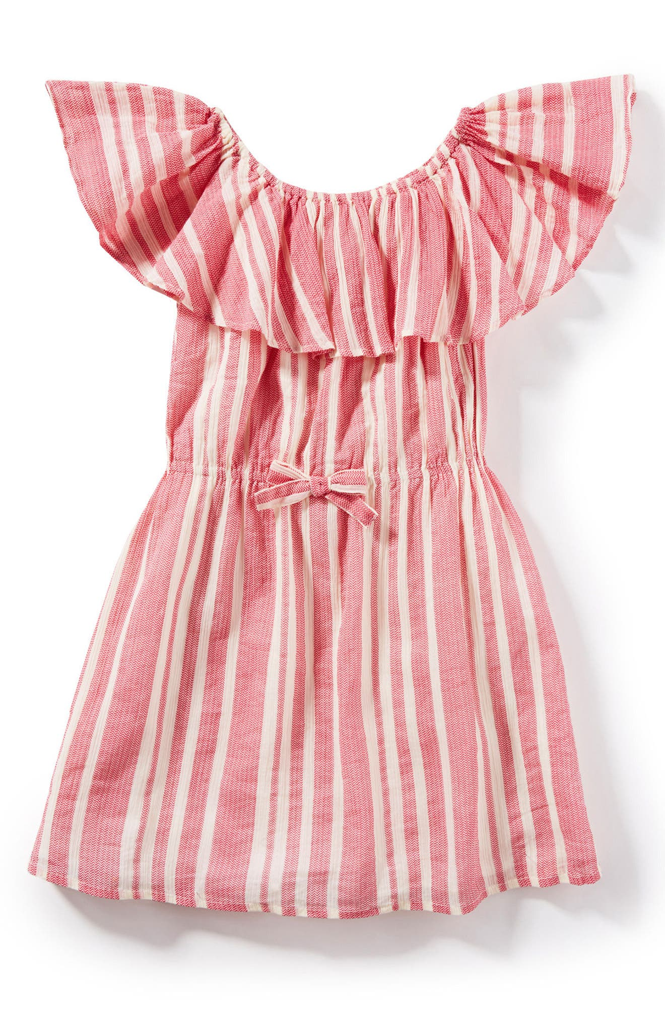 Mindy Ruffle Stripe Dress,                         Main,                         color, Coral