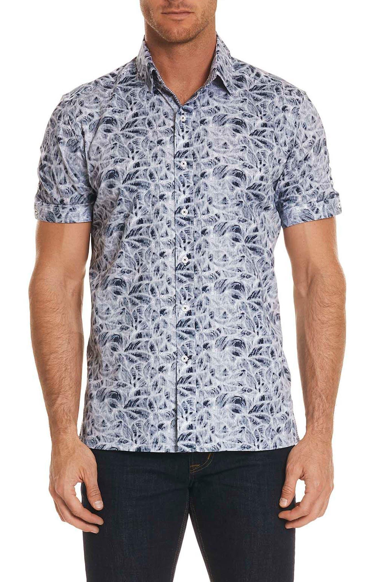 Booker Tailored Fit Print Sport Shirt,                             Main thumbnail 1, color,                             Black