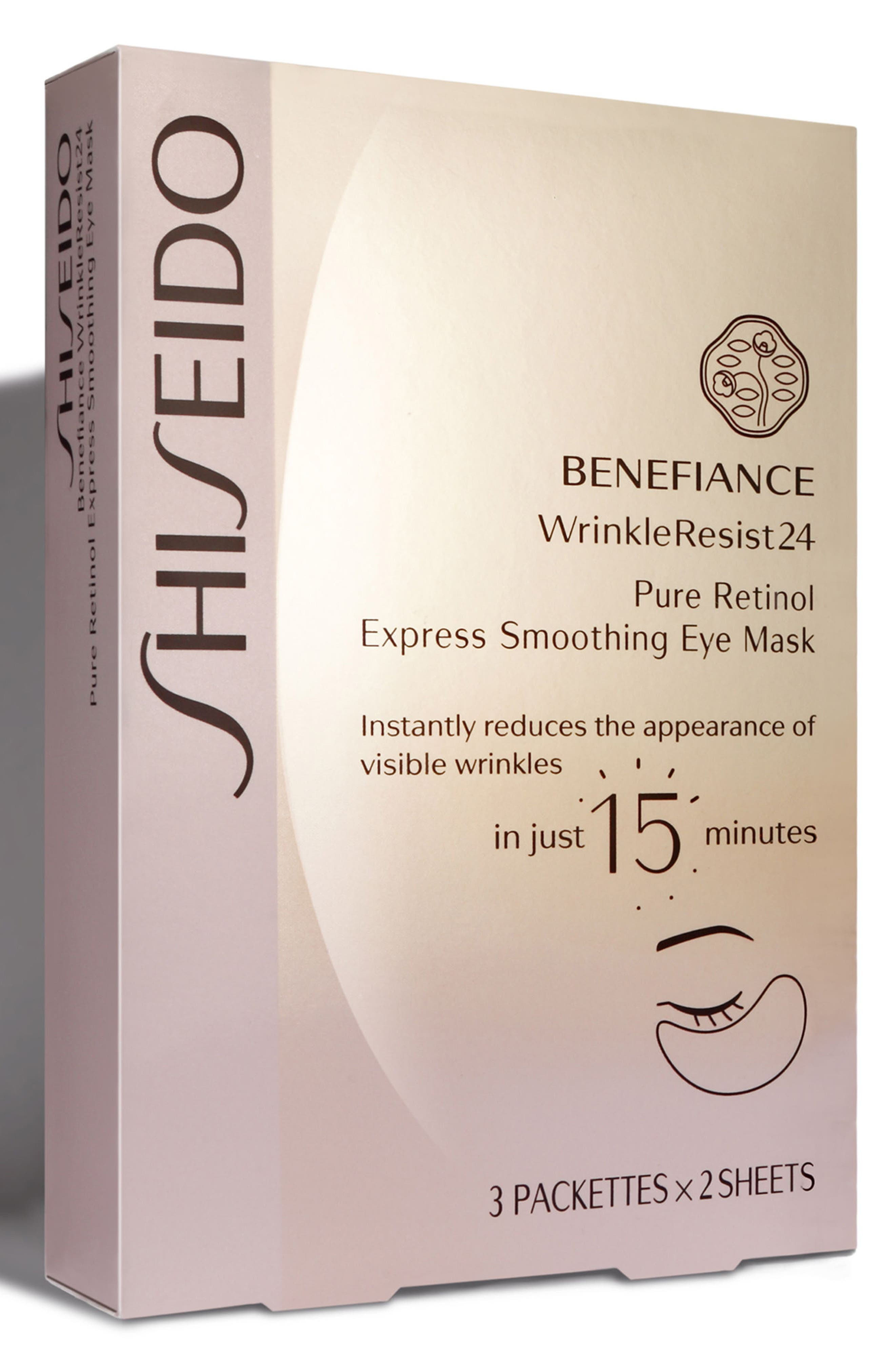 Benefiance WrinkleResist24 Pure Retinol Express Smoothing Eye Mask,                             Main thumbnail 1, color,                             No Color