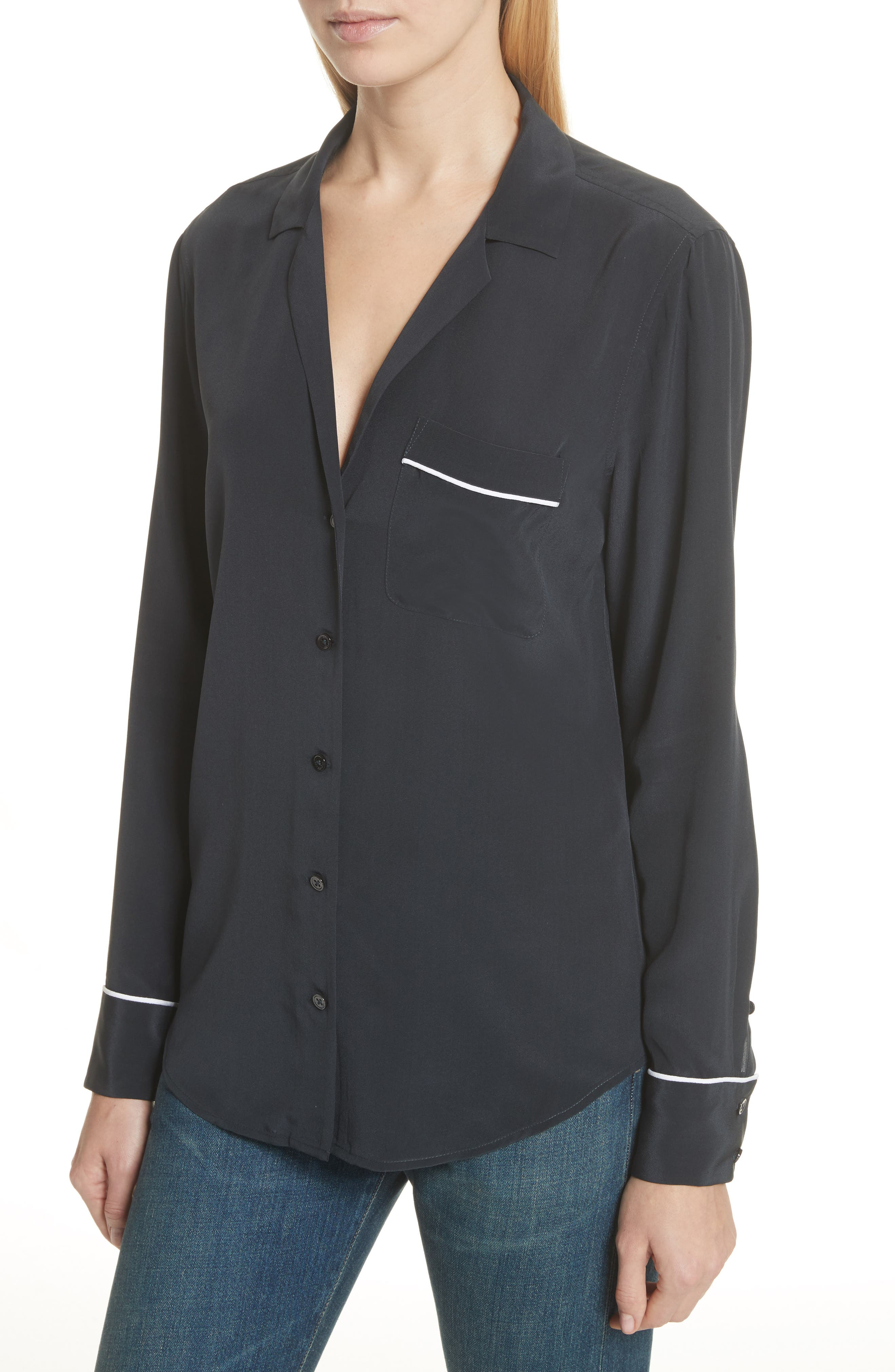 Alternate Image 4  - Equipment Keira Piped Silk Shirt