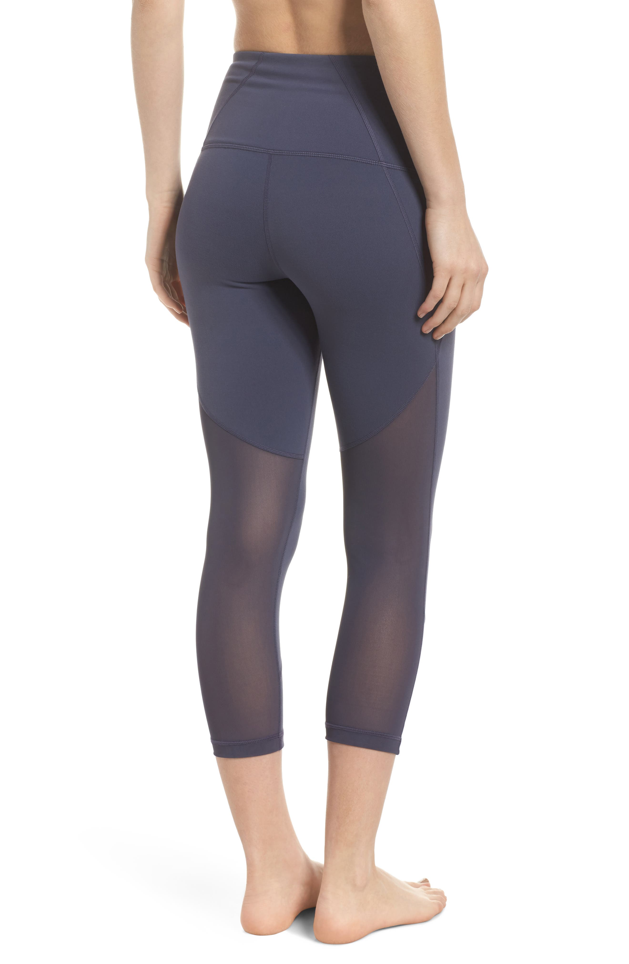 'Live In - Sultry' High Waist Mesh Crop Leggings,                         Main,                         color, Grey Slate