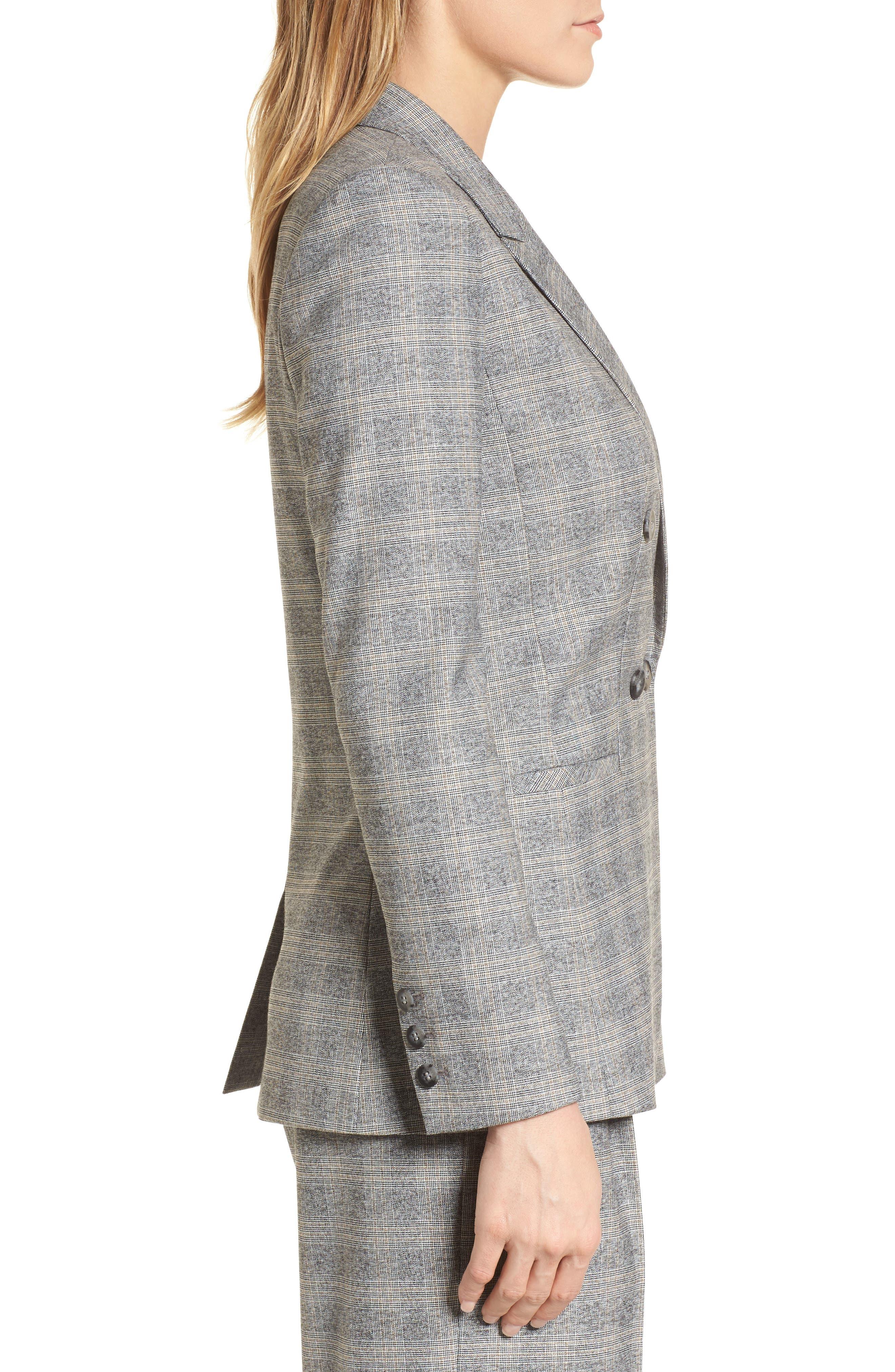 Check Plaid Suit Jacket,                             Alternate thumbnail 3, color,                             Grey Check