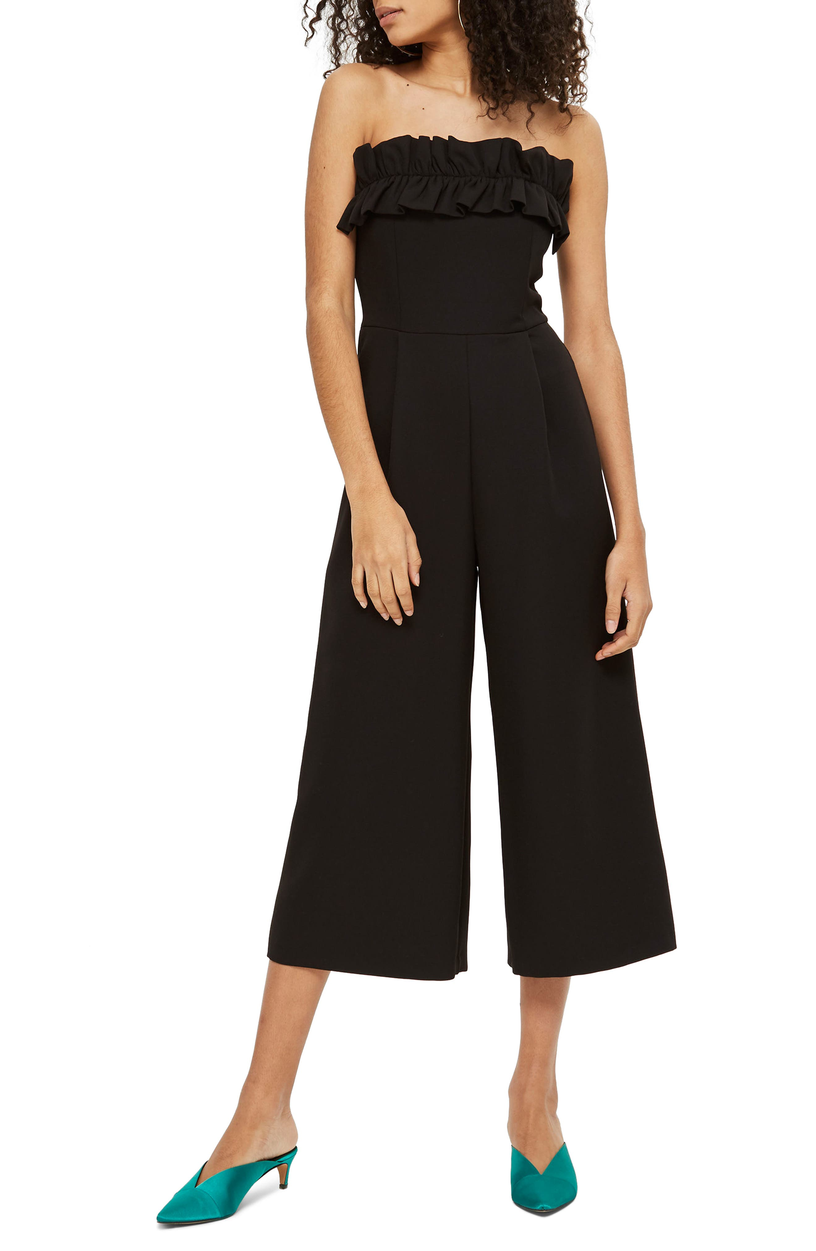 Ruffle Strapless Jumpsuit,                         Main,                         color, Black