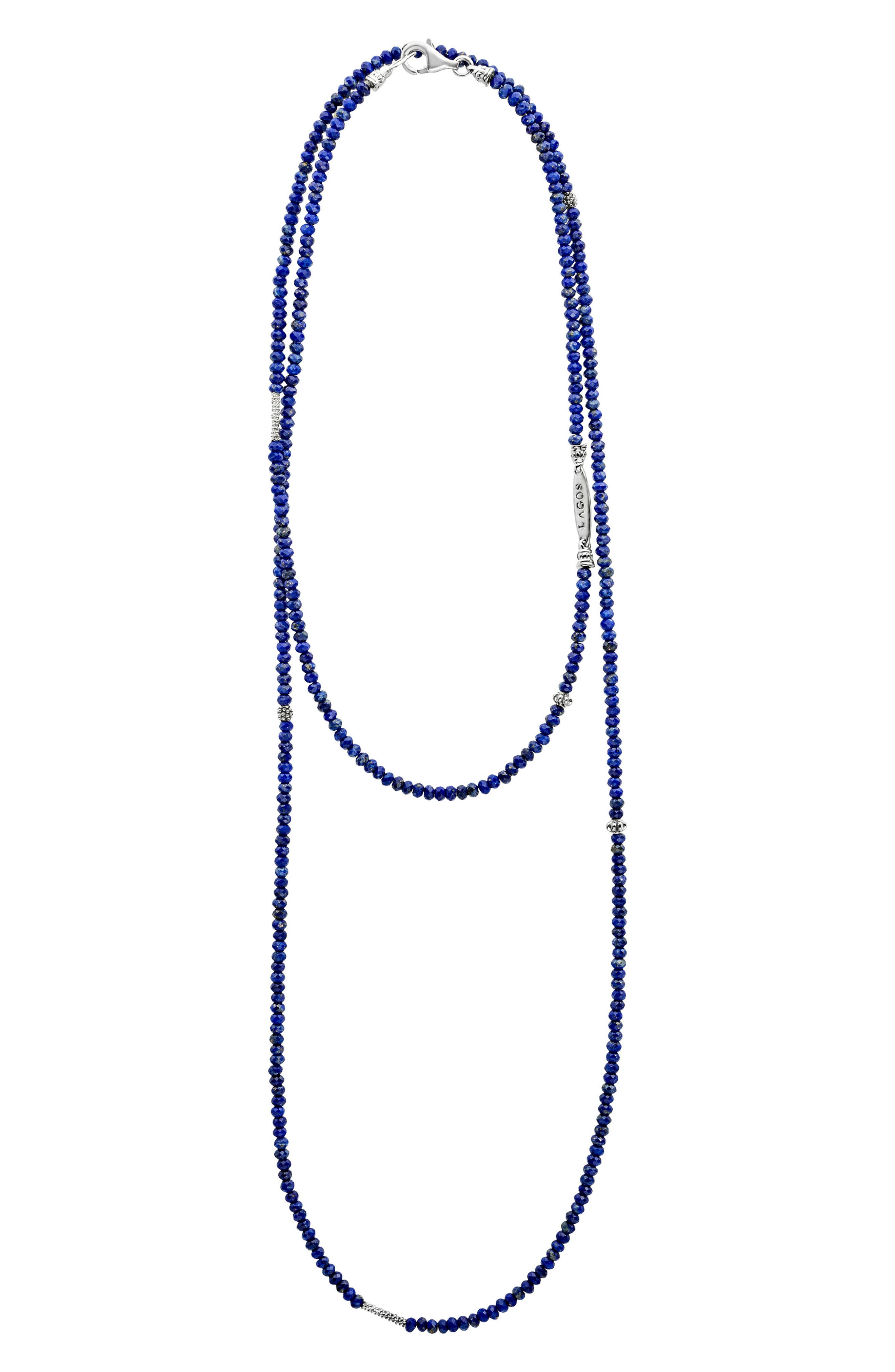 Caviar Icon Station Necklace,                         Main,                         color, Silver/ Lapis