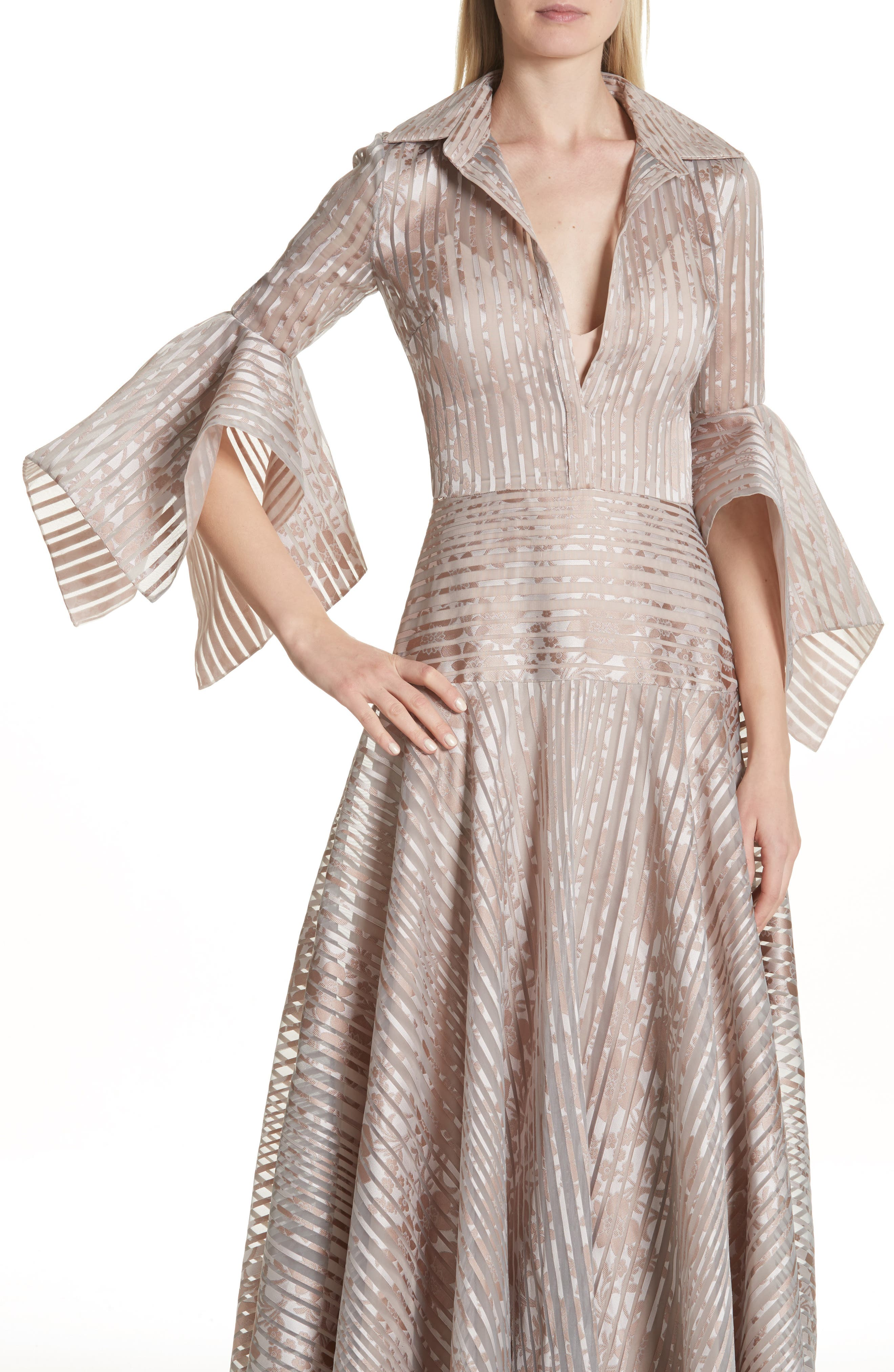 Platinum Metallic Texture Stripe Organza Gown,                             Alternate thumbnail 4, color,                             Mauve