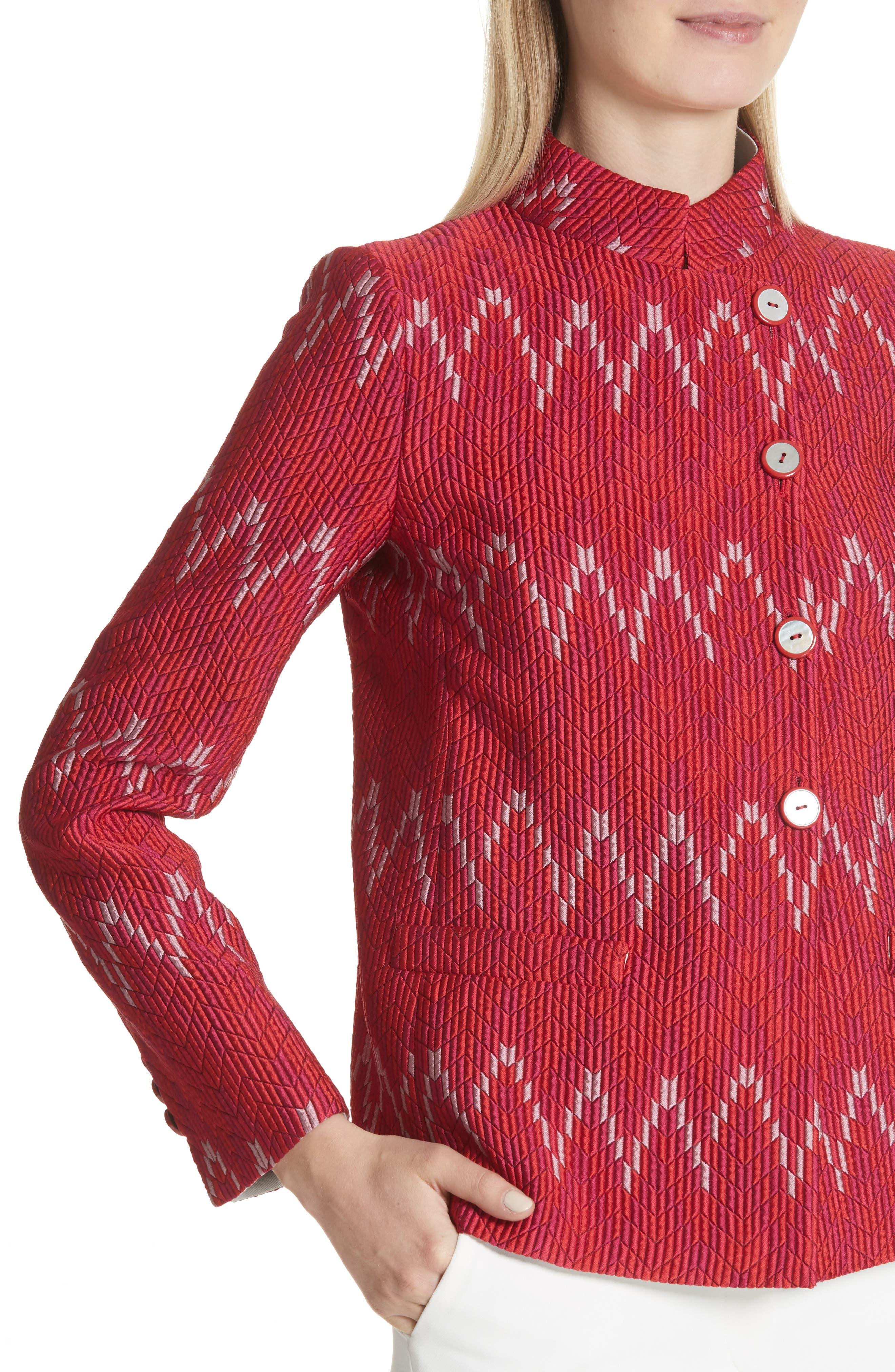 Flame Stitch Jacquard Jacket,                             Alternate thumbnail 4, color,                             Strawberry