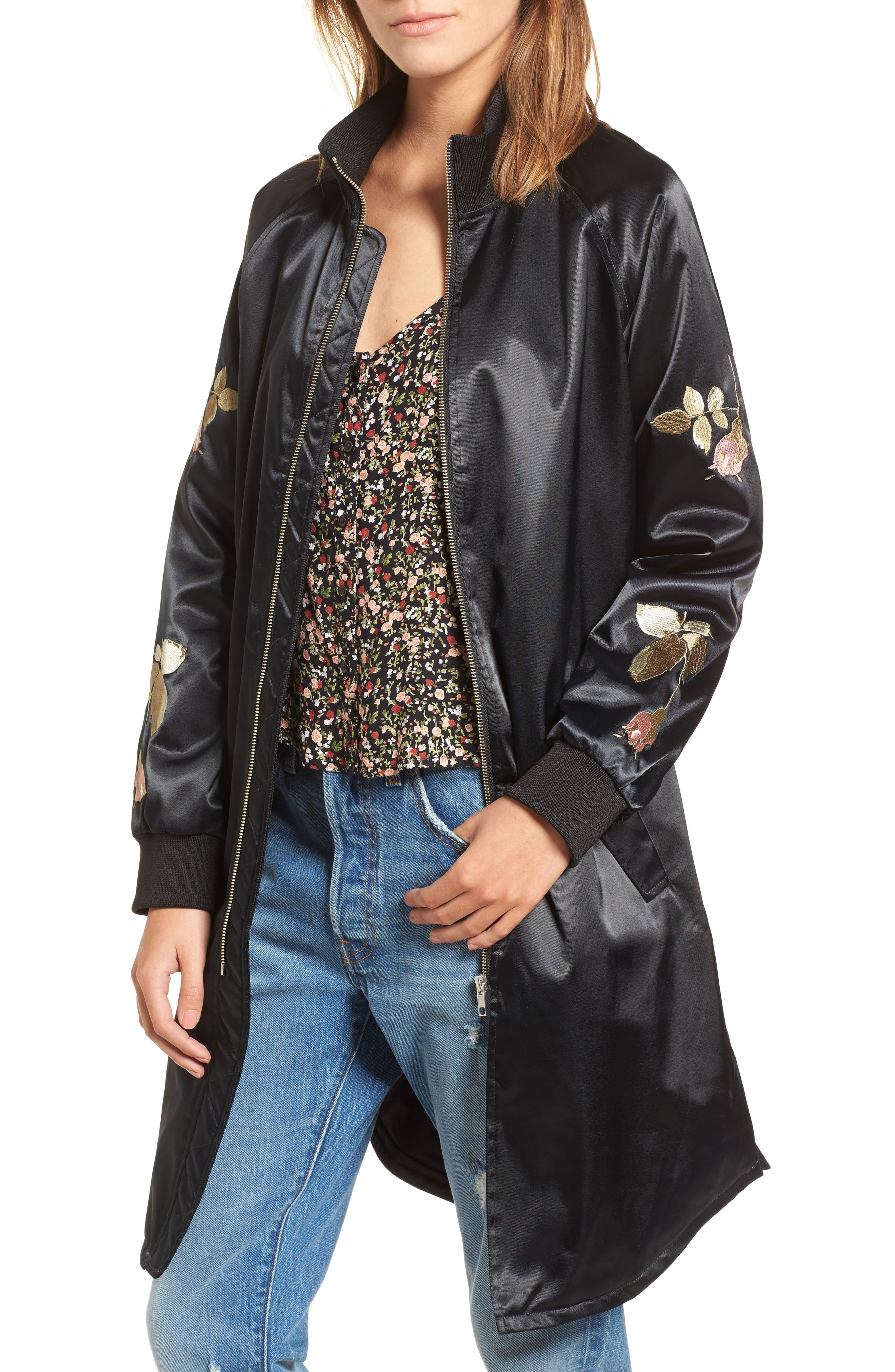 Embroidered Jacket,                         Main,                         color, Black