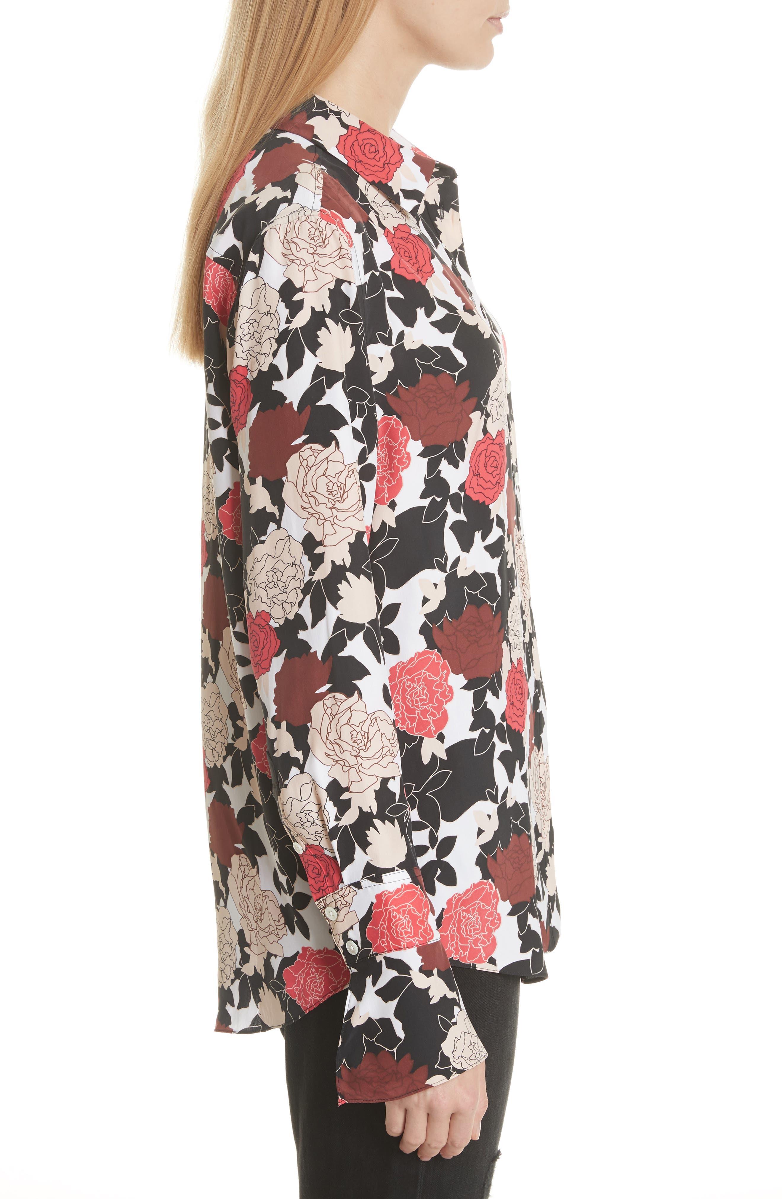 Daphne Floral Silk Shirt,                             Alternate thumbnail 3, color,                             Bright White Multi