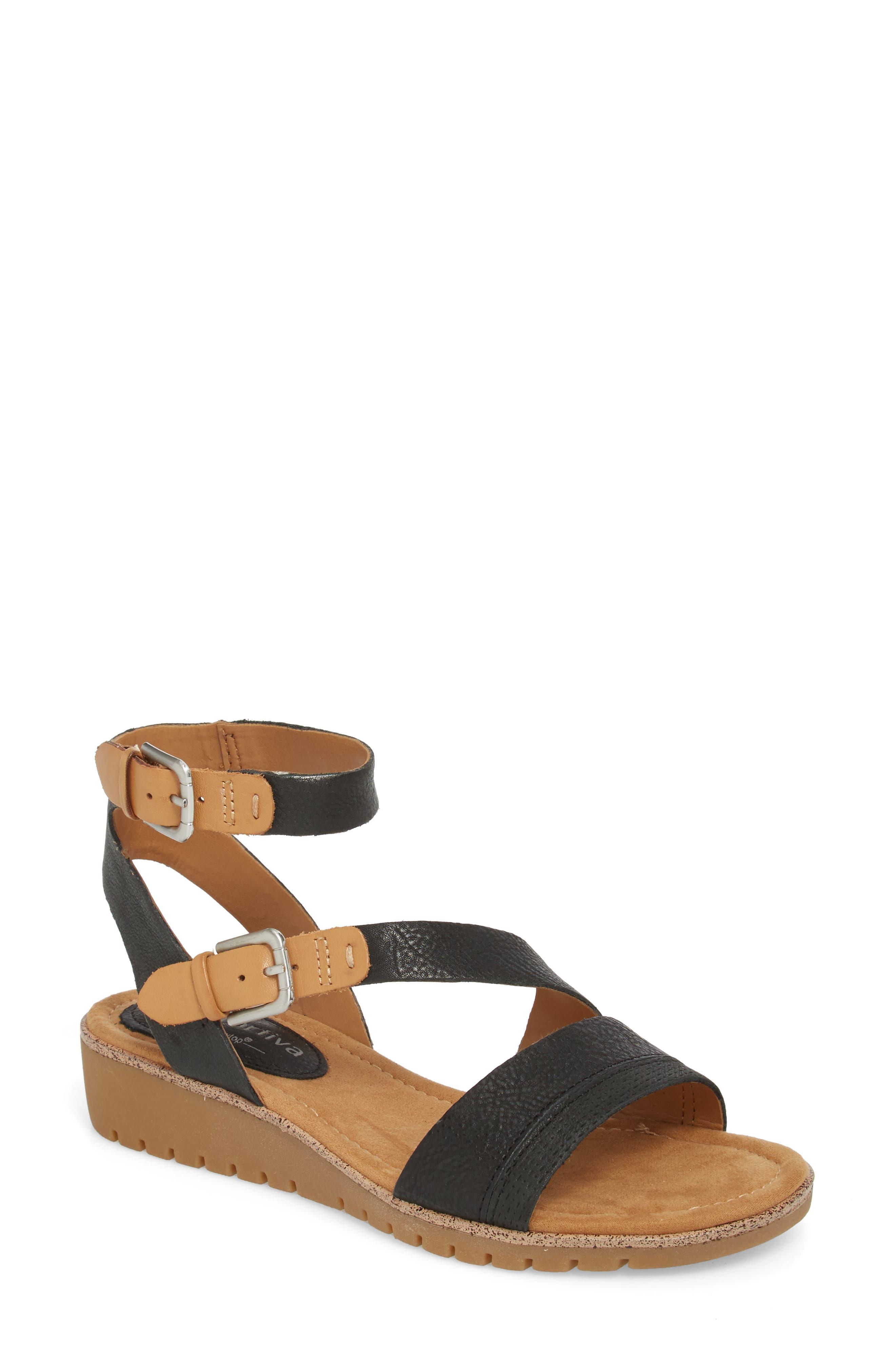 Corvina Sandal,                             Main thumbnail 1, color,                             Black/ Sand Leather