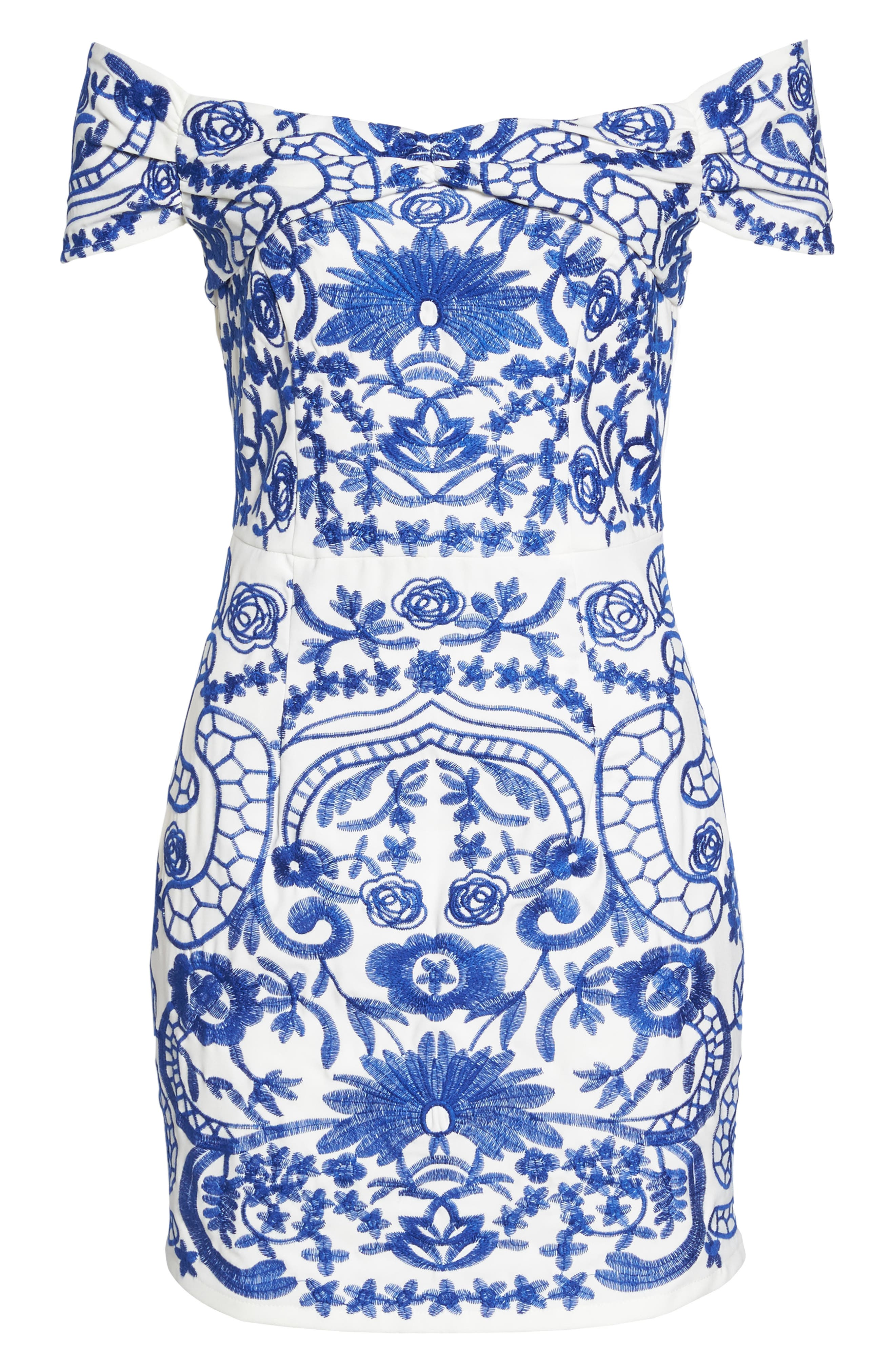 Betina Embroidered Off the Shoulder Dress,                             Alternate thumbnail 6, color,                             Cobalt