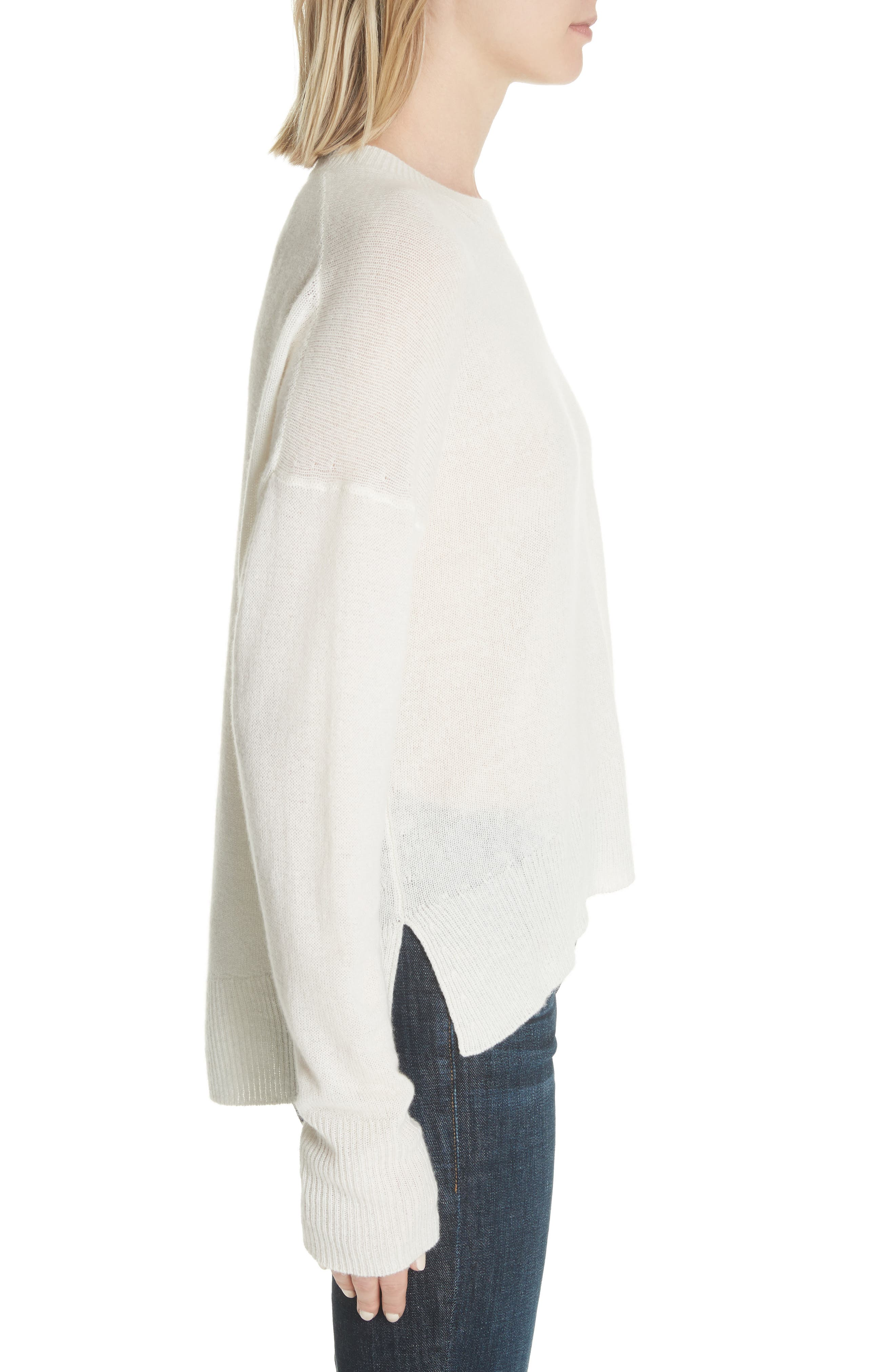 Karenia L Cashmere Sweater,                             Alternate thumbnail 3, color,                             Ivory
