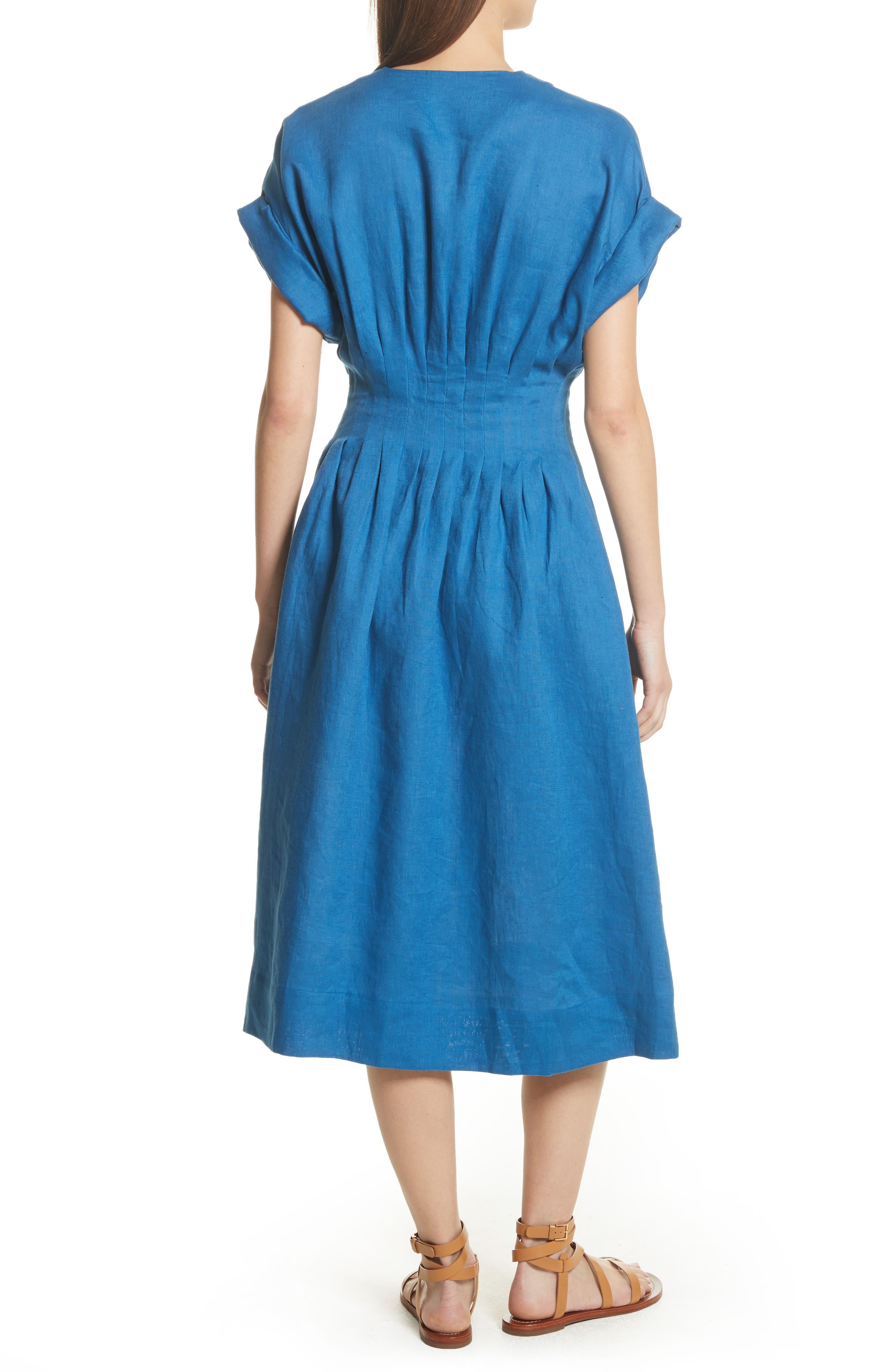 Coraline Pleated Button Front Linen Dress,                             Alternate thumbnail 2, color,                             Blue