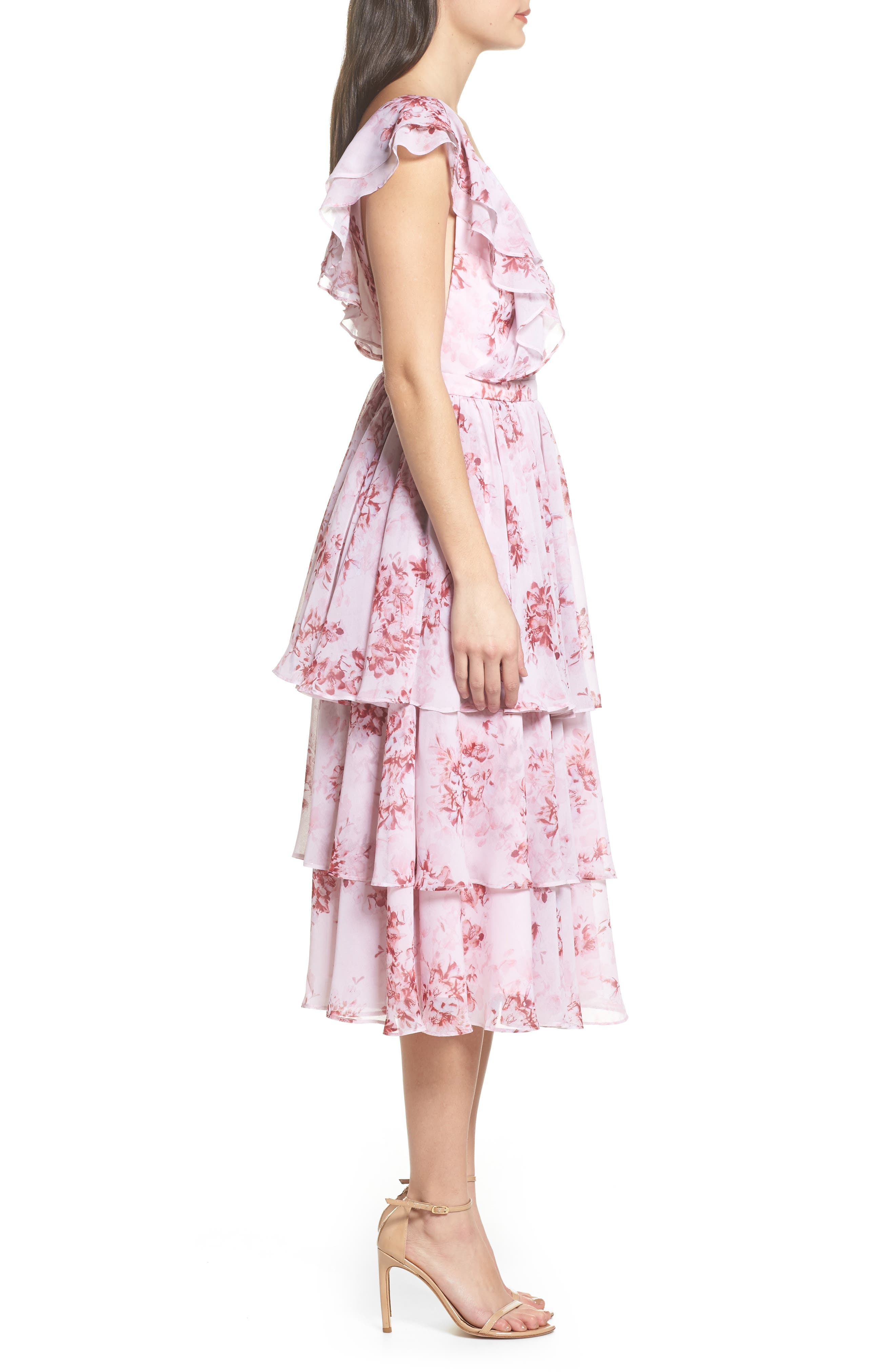 Edy Floral Georgette Dress,                             Alternate thumbnail 3, color,                             Delaney Print