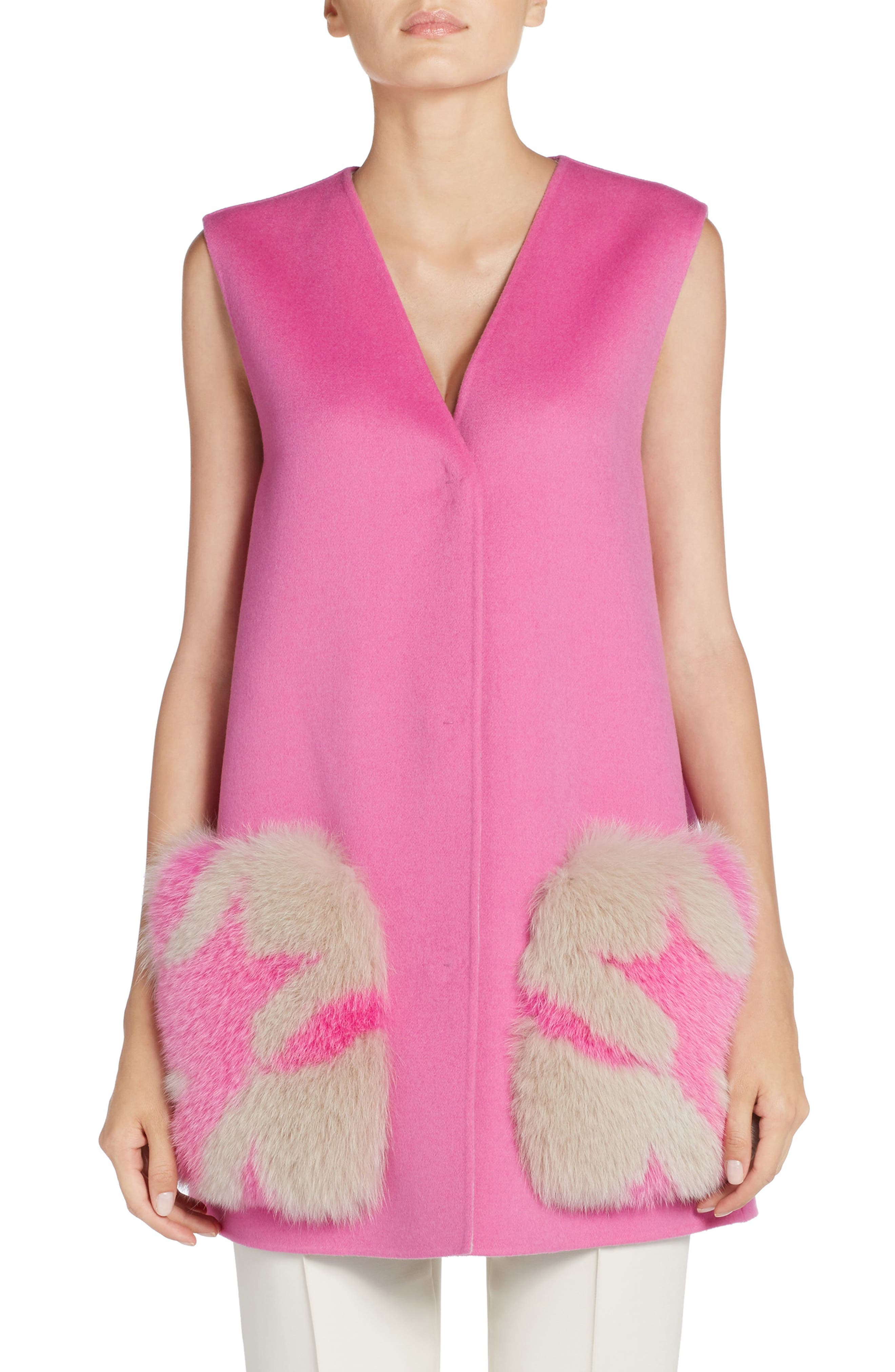 Genuine Fox Fur Trim Wool Vest,                         Main,                         color, Glamour Pink