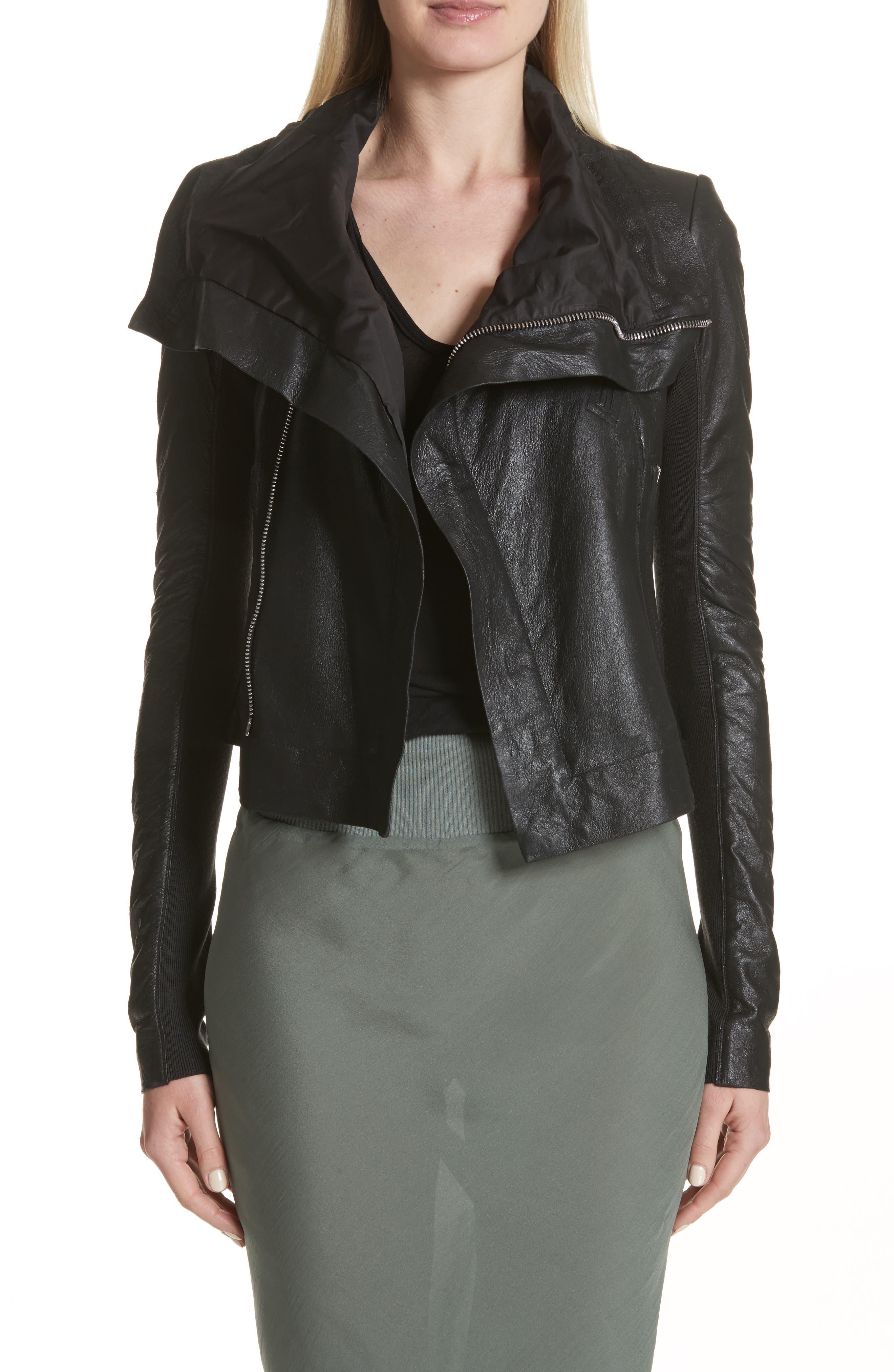 Classic Leather Biker Jacket,                             Main thumbnail 1, color,                             Black