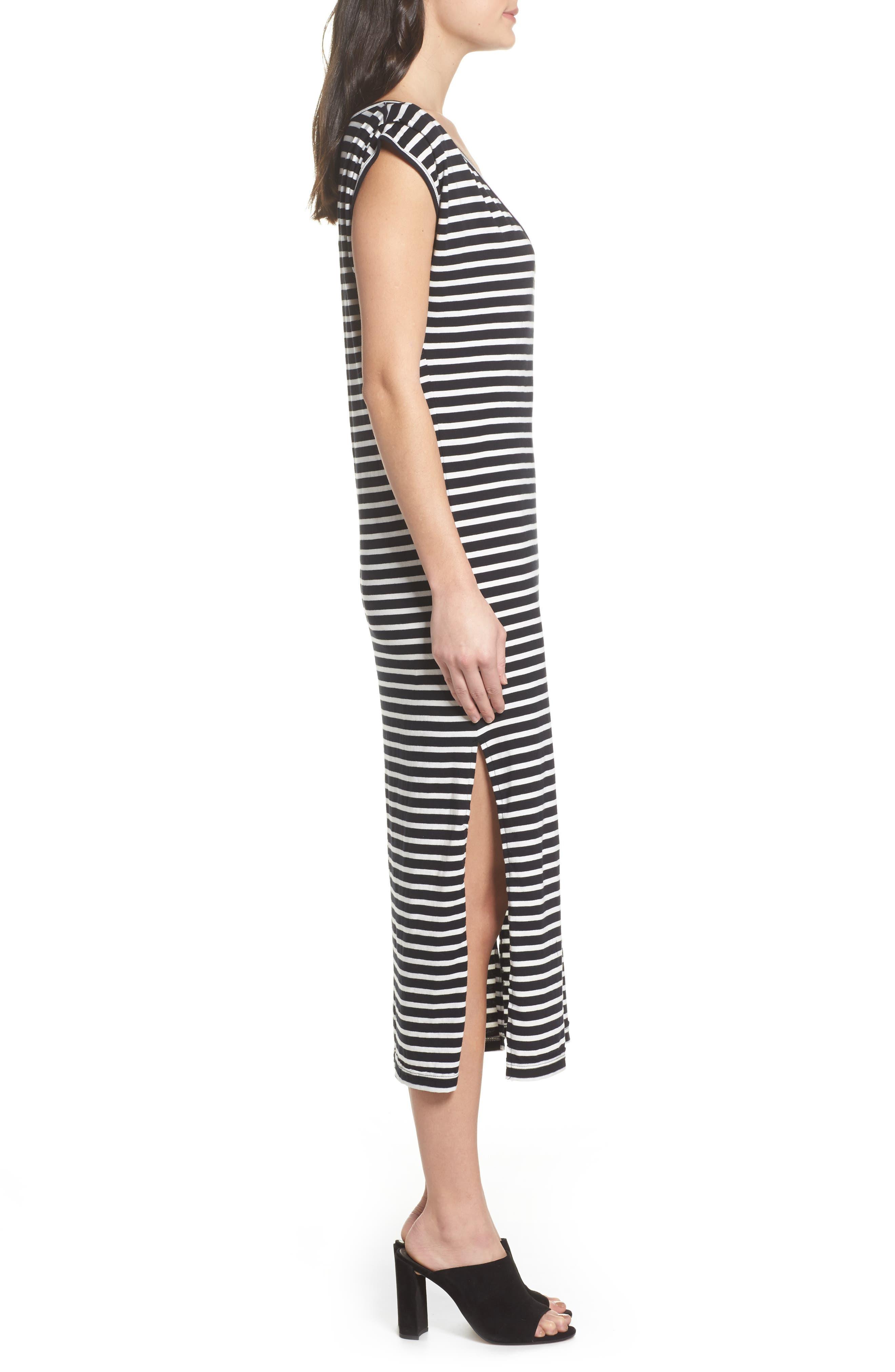 Solana Stripe Knit Midi Dress,                             Alternate thumbnail 3, color,                             Black White Stripe