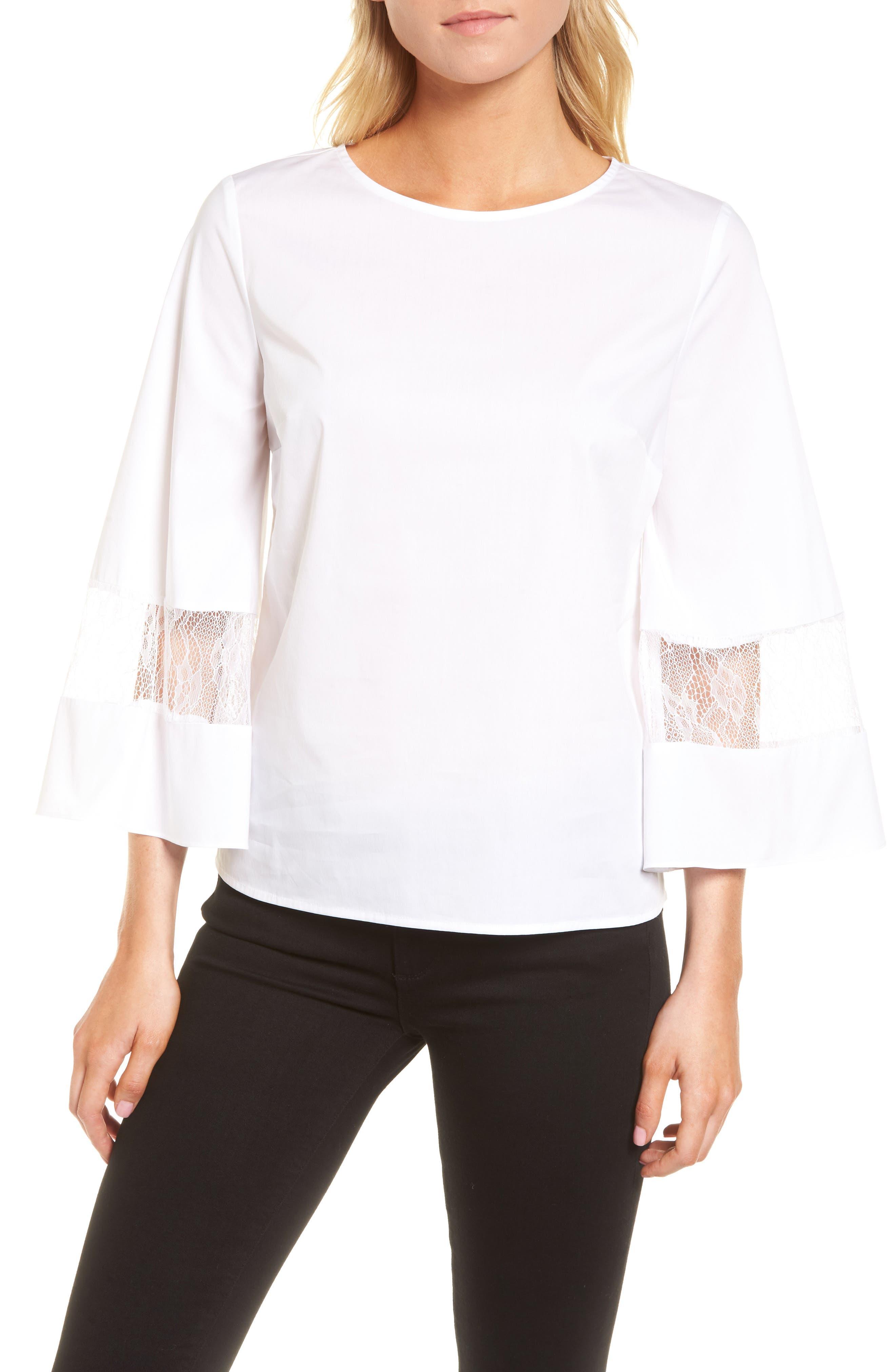 Lace & Poplin Blouse,                         Main,                         color, White