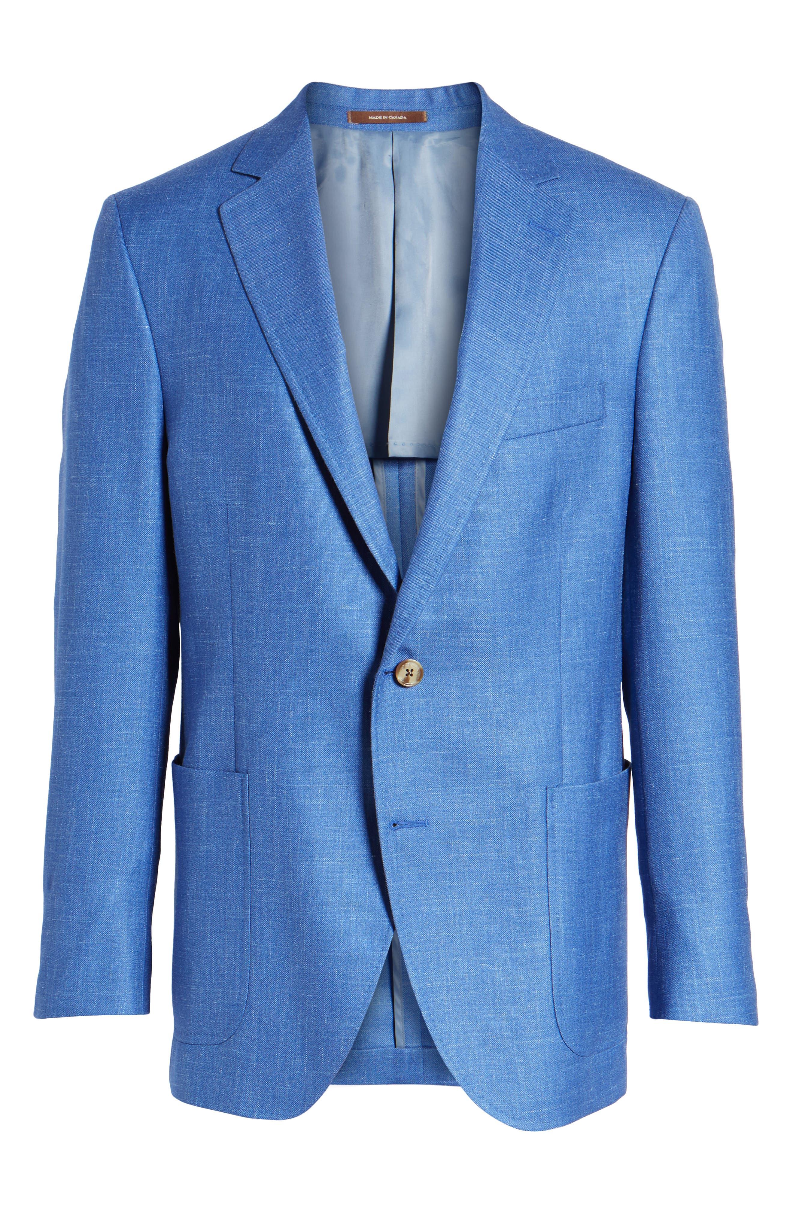 Classic Fit Wool Blend Blazer,                             Alternate thumbnail 6, color,                             Blue