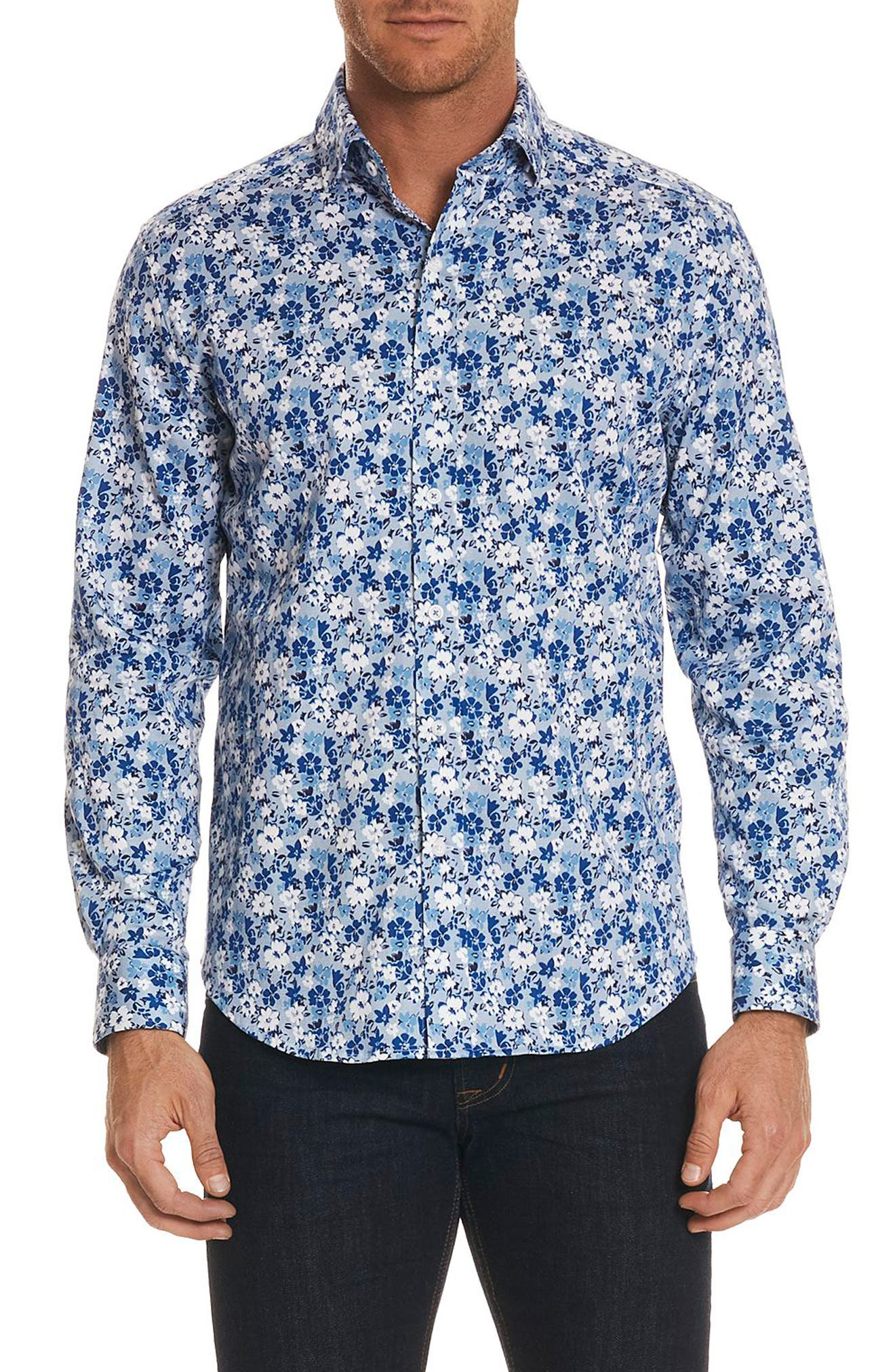 Asher Tailored Fit Floral Sport Shirt,                             Main thumbnail 1, color,                             Blue