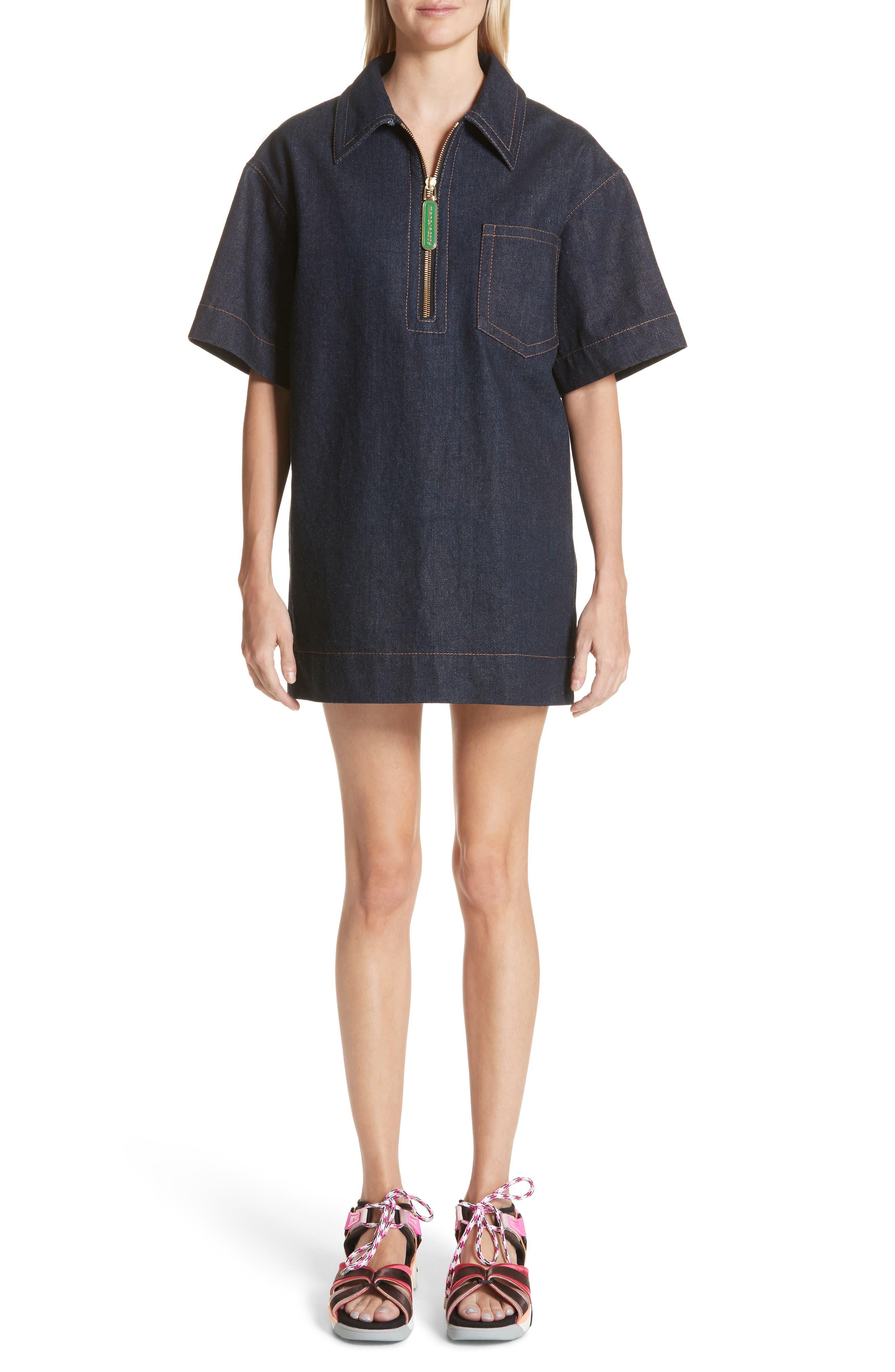Denim Tunic Dress,                         Main,                         color, Indigo