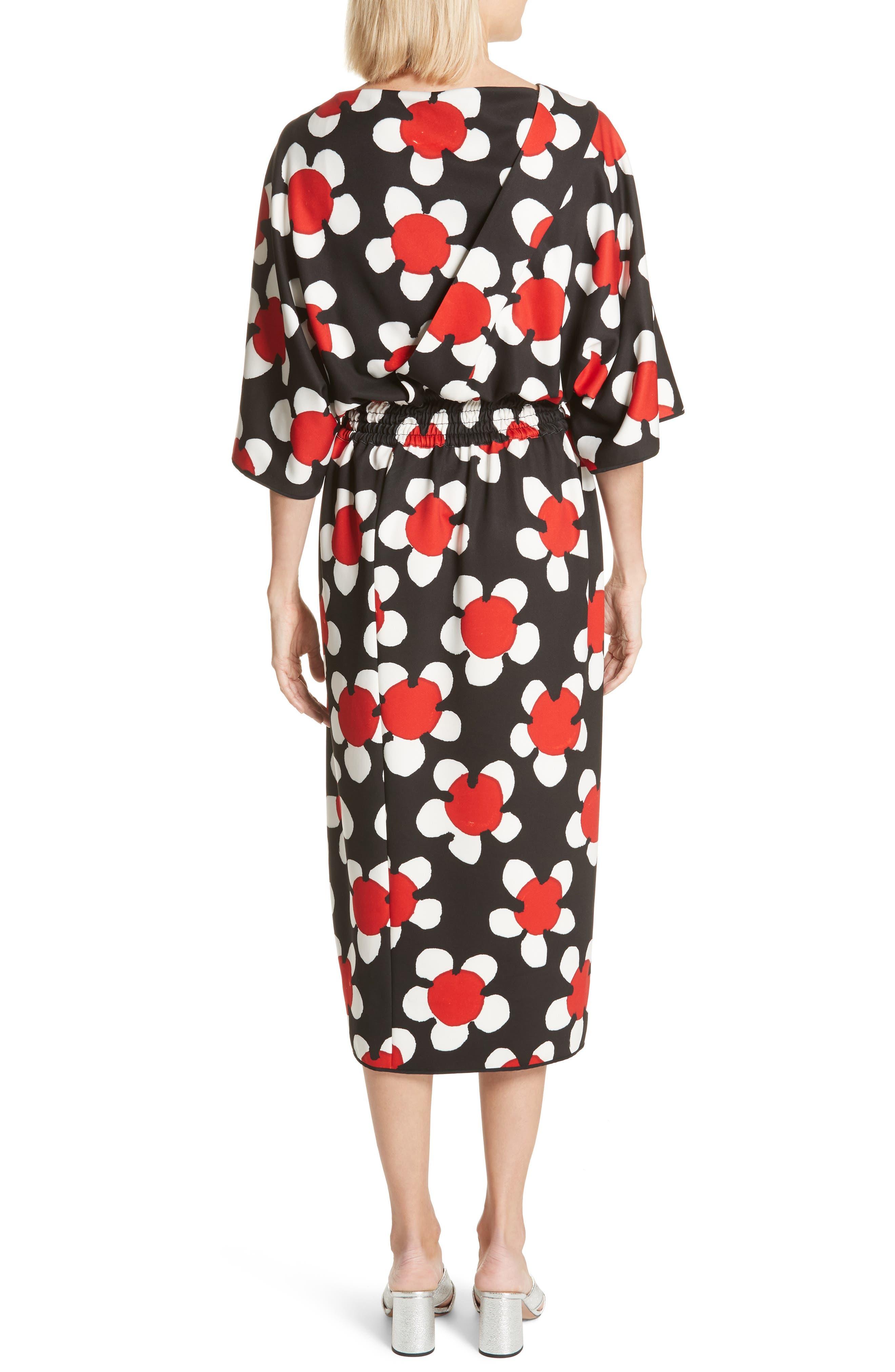 Surplice Neck Floral Print Dress,                             Alternate thumbnail 2, color,                             Red Multi