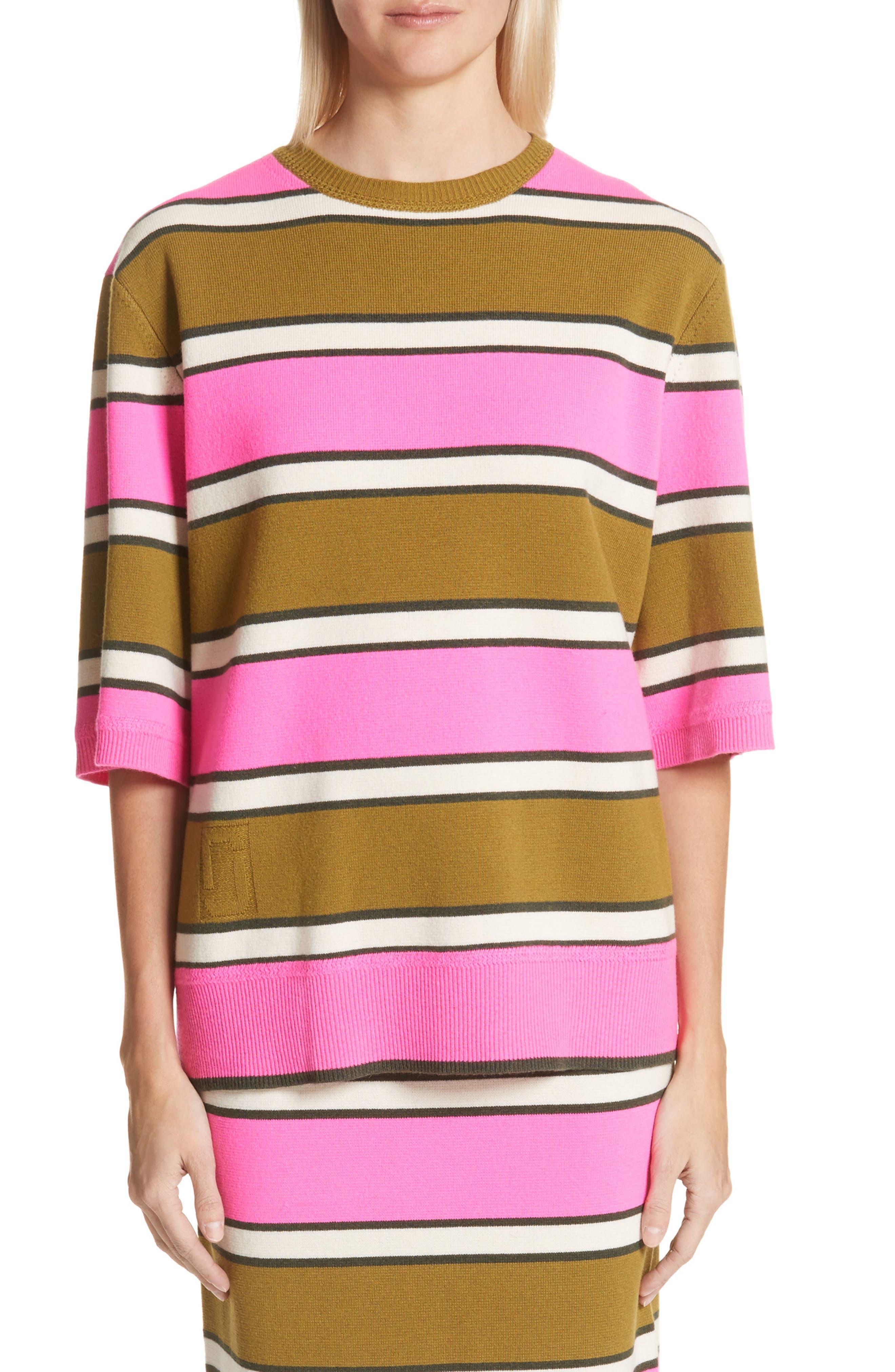 Oversize Stripe Cashmere Sweater,                             Main thumbnail 1, color,                             Pink Multi