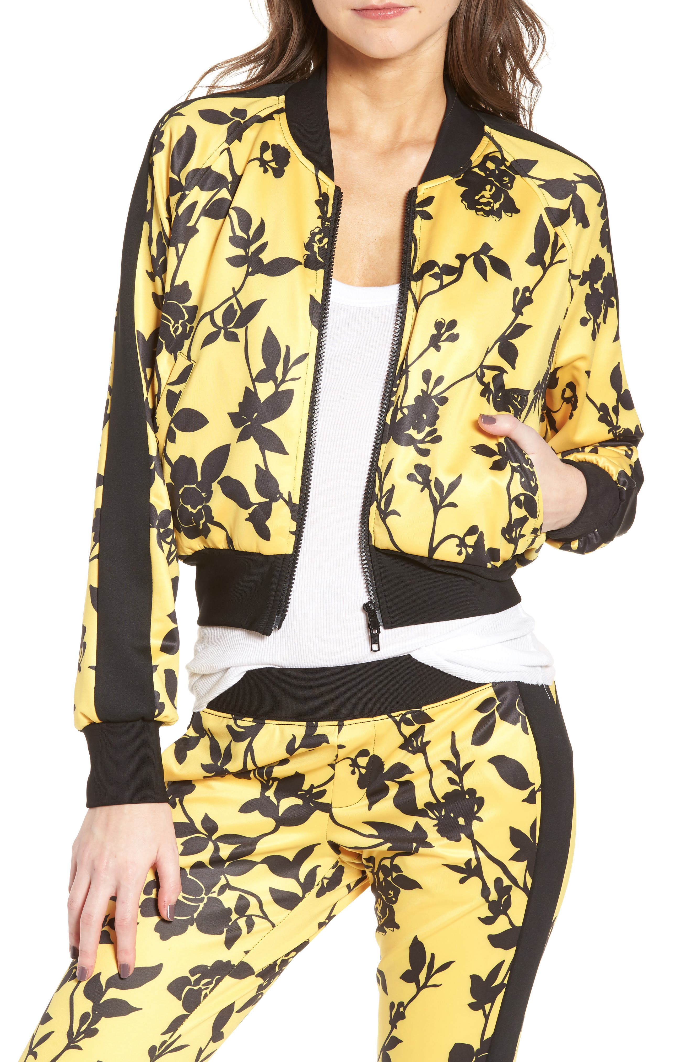 Pam   Gela Crop Track Jacket In Floral Shadow Print  1cb212d4633d4